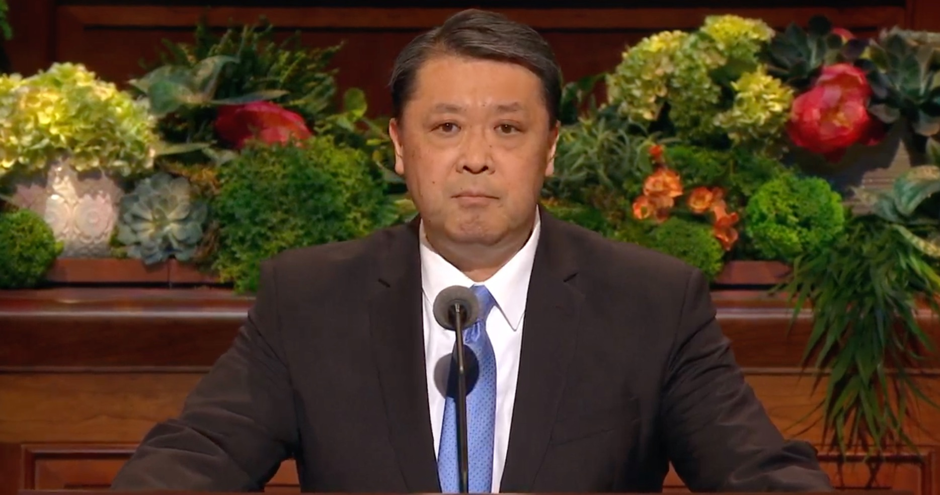 Elder Takashi Wada, a General Authority Seventy, gives his address during the Saturday afternoon session of the 189th Annual General Conference on April 6, 2019.