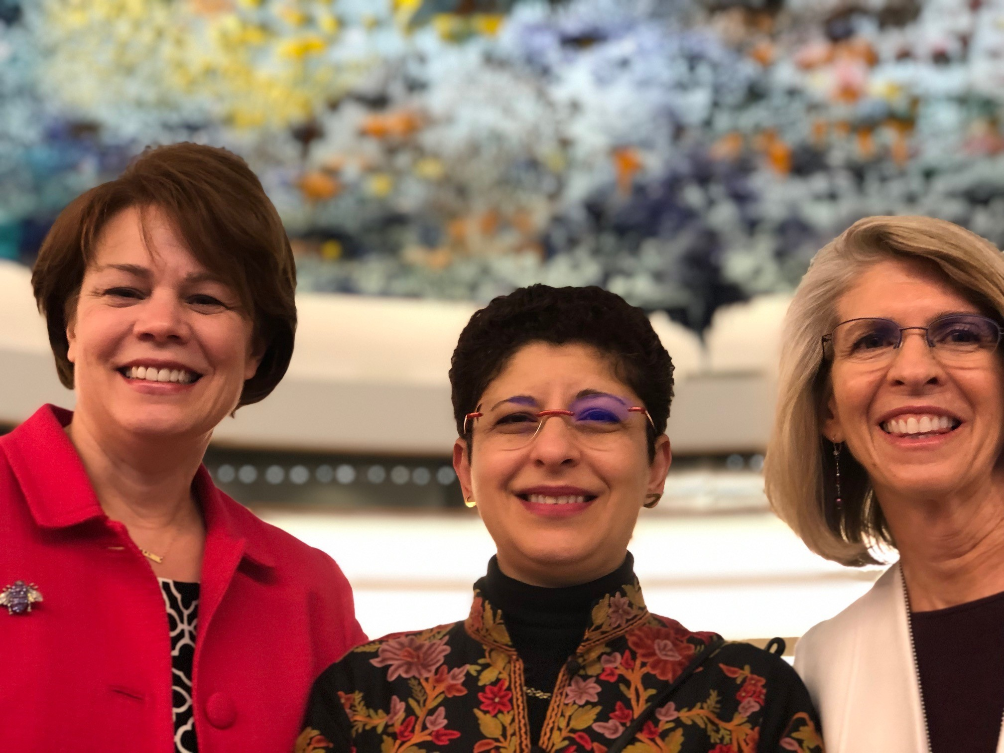 Sister Sharon Eubank, left, director of LDS Charities and first counselor in the Relief Society general presidency, spoke at the United Nations in Geneva, Switzerland, Monday, April 29, 2019. Also pictured are Dr. Azza Karam, center, senior advisor on culture, United Nations Population Fund, and Sister Carol F. McConkie, right, Church representative to the United Nations.