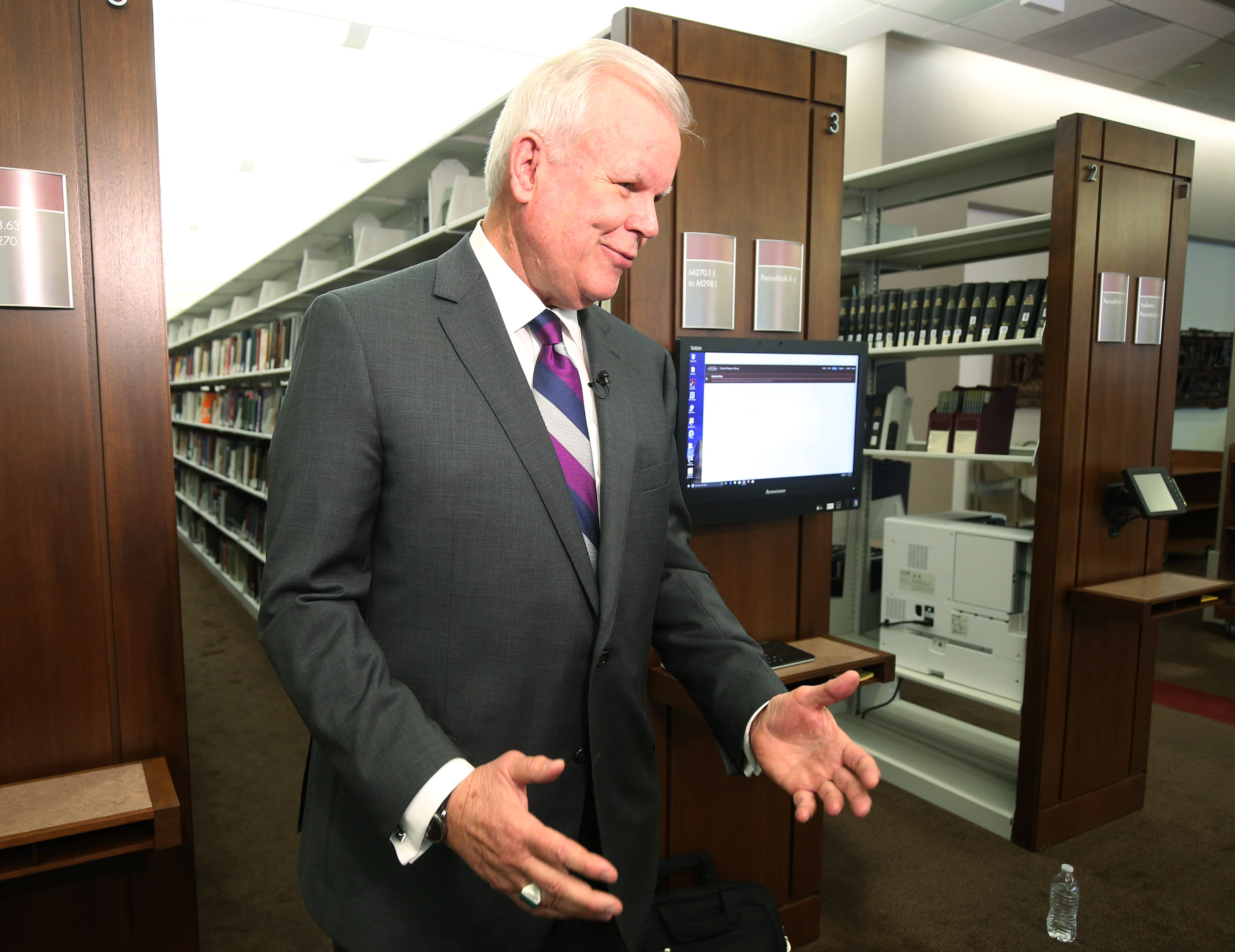 """Elder Steven E. Snow, General Authority Seventy and Church Historian, speaks to media during a press conference announcing the book, """"Saints: The Story of the Church of Jesus Christ in the Latter Days,"""" in Salt Lake City on Tuesday, Sept. 4, 2018."""