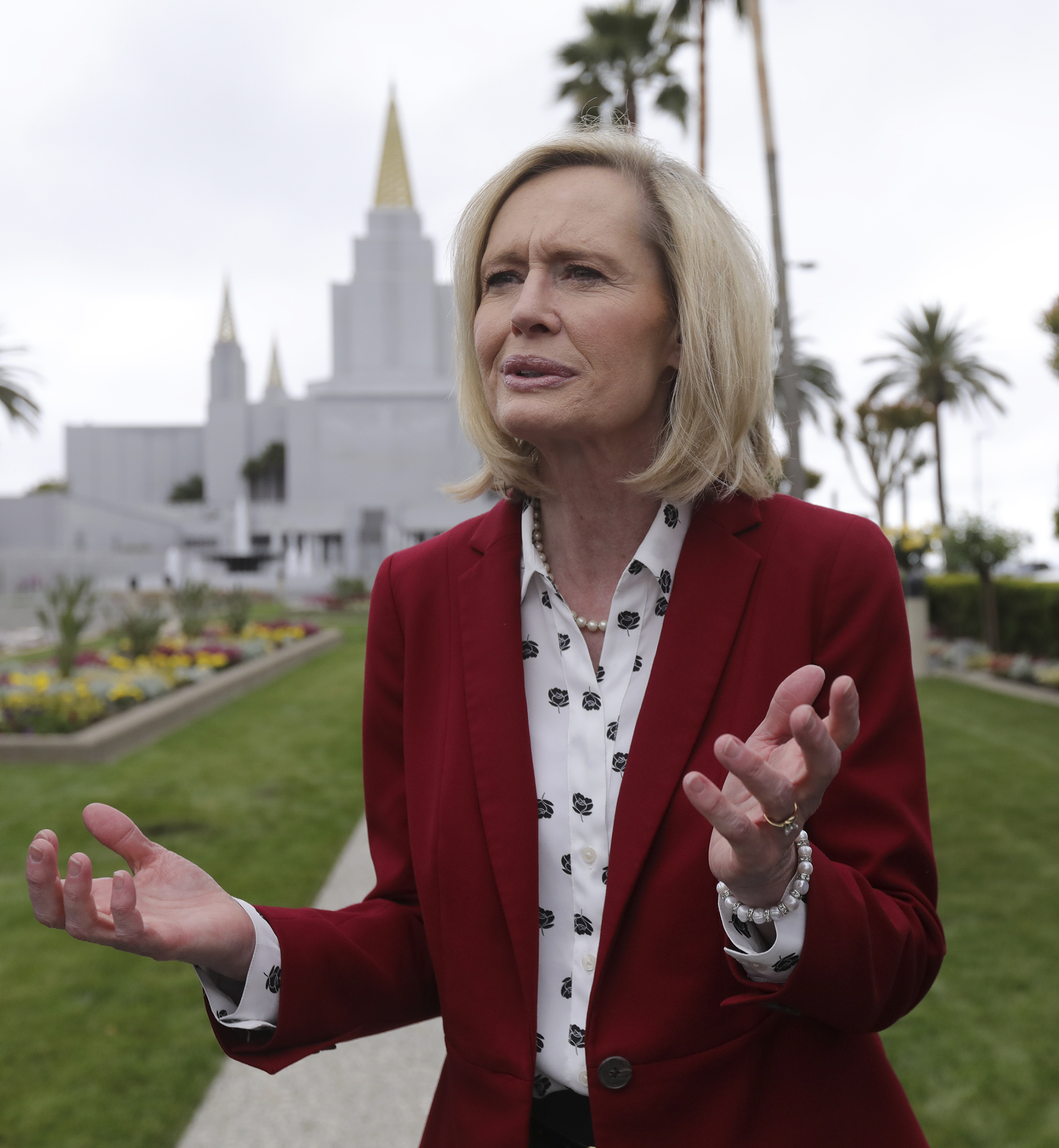 Sister Bonnie H. Cordon, Young Women general president, talks to members of the media outside of the newly renovated Oakland California Temple, of The Church of Jesus Christ of Latter-day Saints, in Oakland, Calif., on Monday, May 6, 2019.