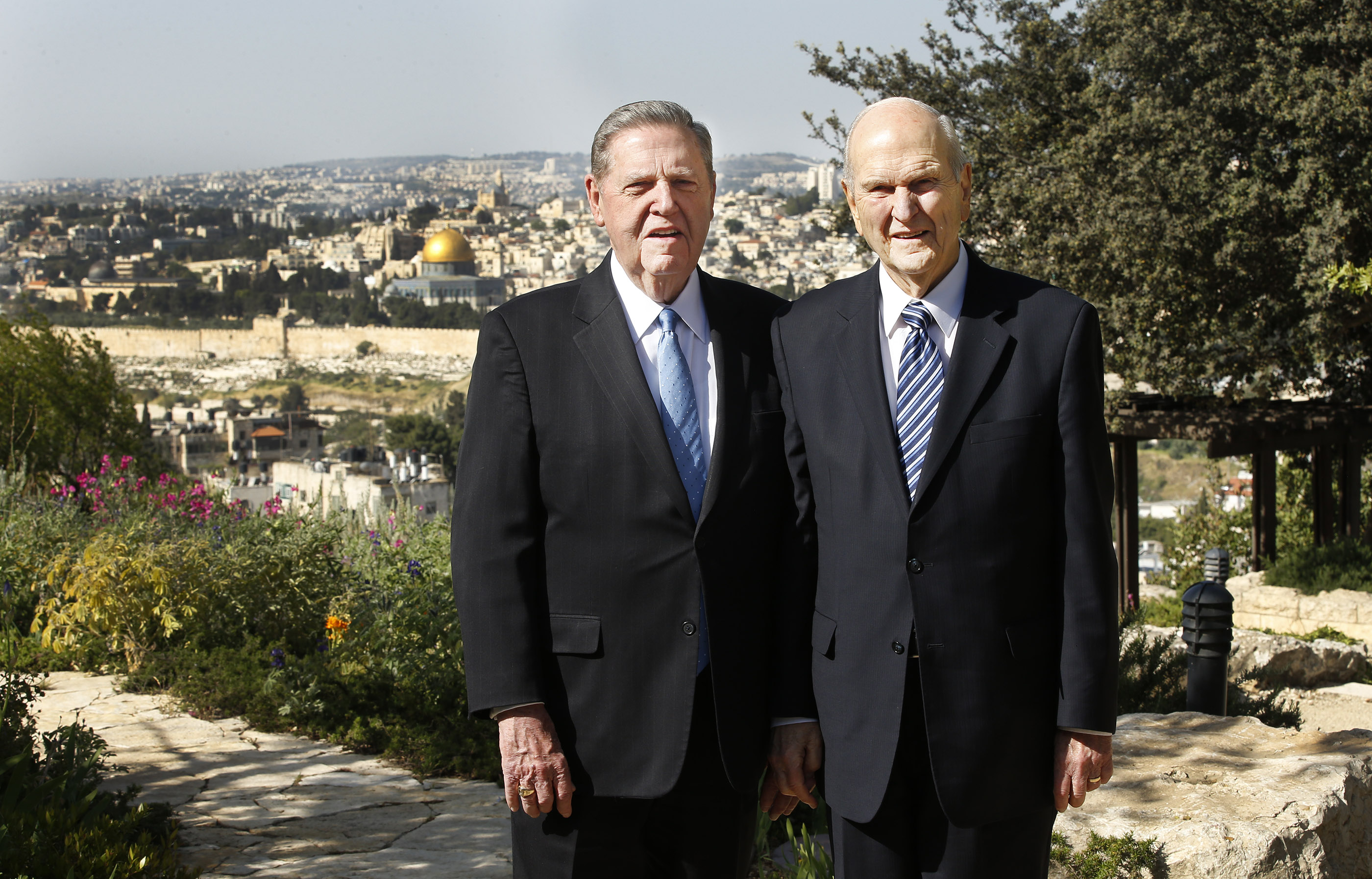 President Russell M. Nelson, president of The Church of Jesus Christ of Latter-day Saints, right, and Elder Jeffrey R. Holland, of the Quorum of the Twelve Apostles, stand together at the BYU Jerusalem Center in Jerusalem on Saturday, April 14, 2018.
