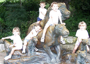 The Faylor quints, enjoying a visit to a park, are from left Cathryn, Joshua, Jonathan (in back), Joseph and Nataleigh.