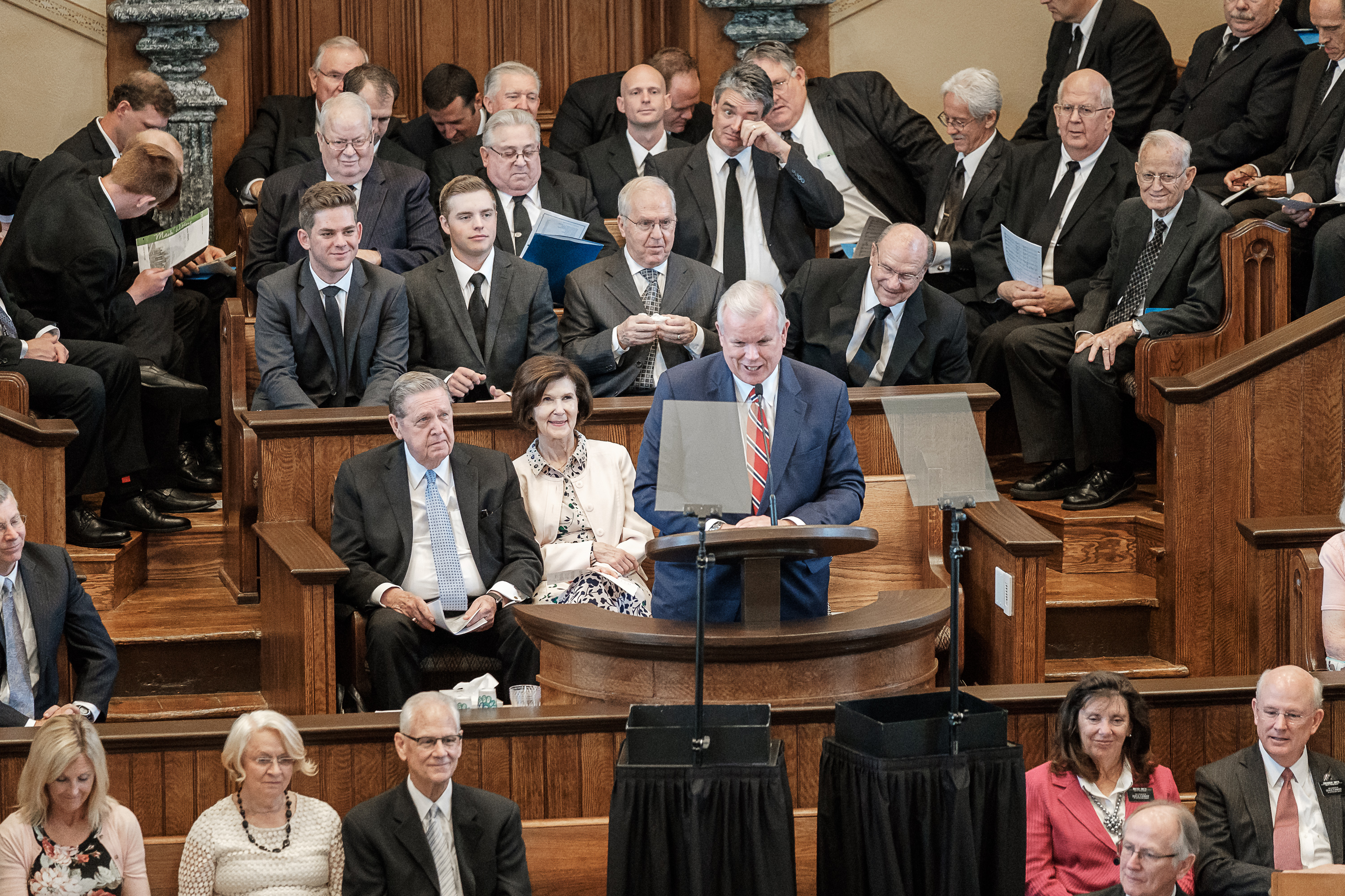 Elder Stephen E. Snow, Church Historian and General Authority Seventy of The Church of Jesus Christ of Latter-day Saints, speaks from the pulpit Saturday, July 28, 2018, during a rededication ceremony at the St. George Tabernacle in St. George, Utah. The building was rededicated after a two-year renovation.