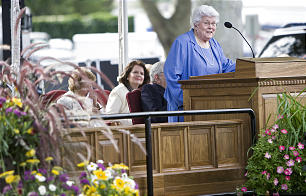 Sister Donna Packer, wife of President Boyd K. Packer, speaks at the groundbreaking ceremonies for the Brigham City temple.