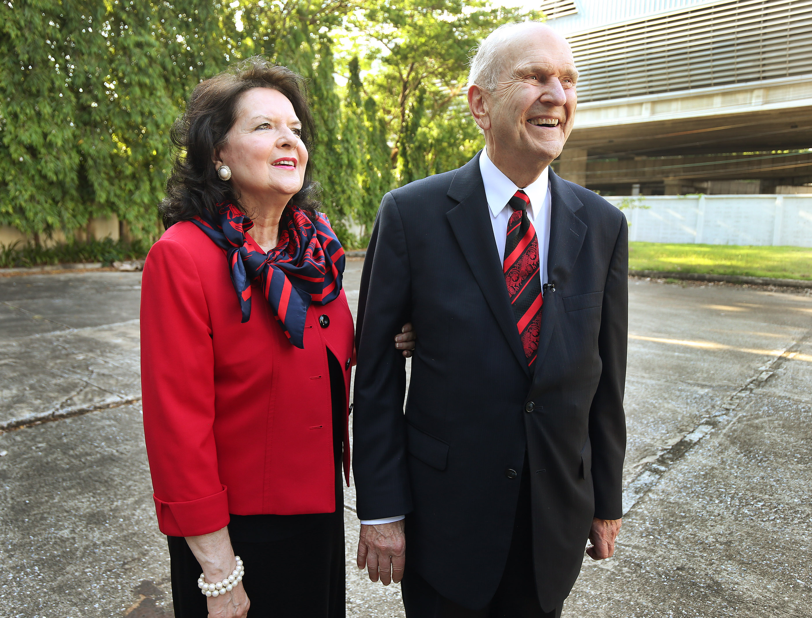 Russell M. Nelson, President of The Church of Jesus Christ of Latter-day Saints, and his wife, Sister Wendy Nelson, look over the site for a future temple in Bangkok, Thailand, on Friday, April 20, 2018.