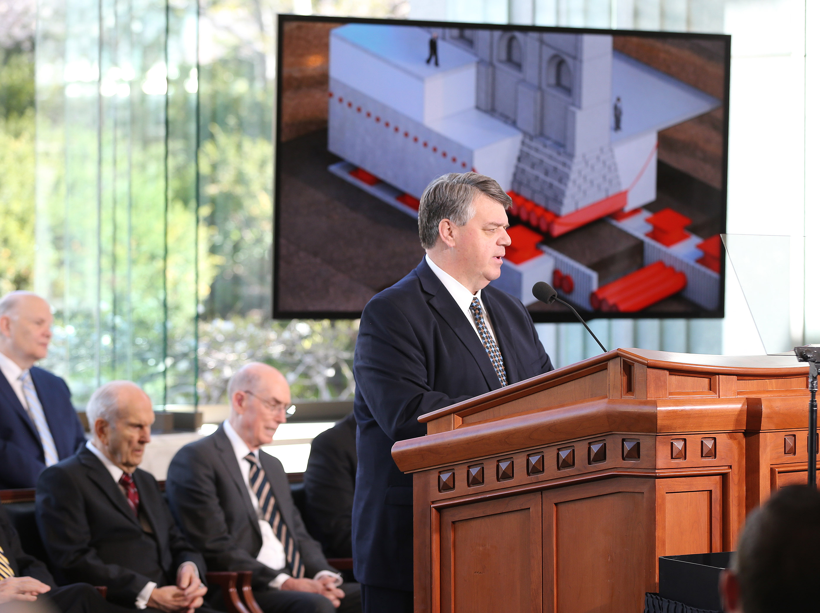 Brent Roberts, director of operations for The Church of Jesus Christ of Latter-day Saints, talks about renovation plans for the Salt Lake Temple during a press conference in Salt Lake City on Friday, April 19, 2019.