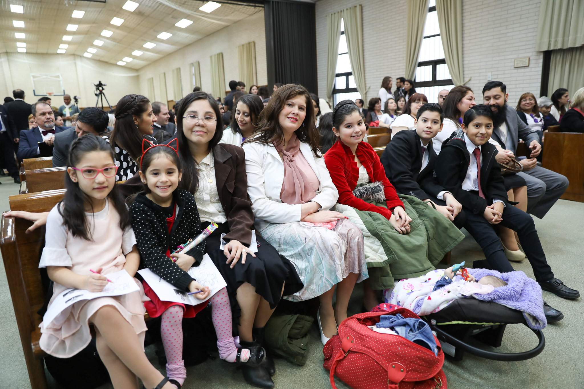 A family in the Tierra del Fuego Argentina Stake pose during a meeting on June 2, 2019.