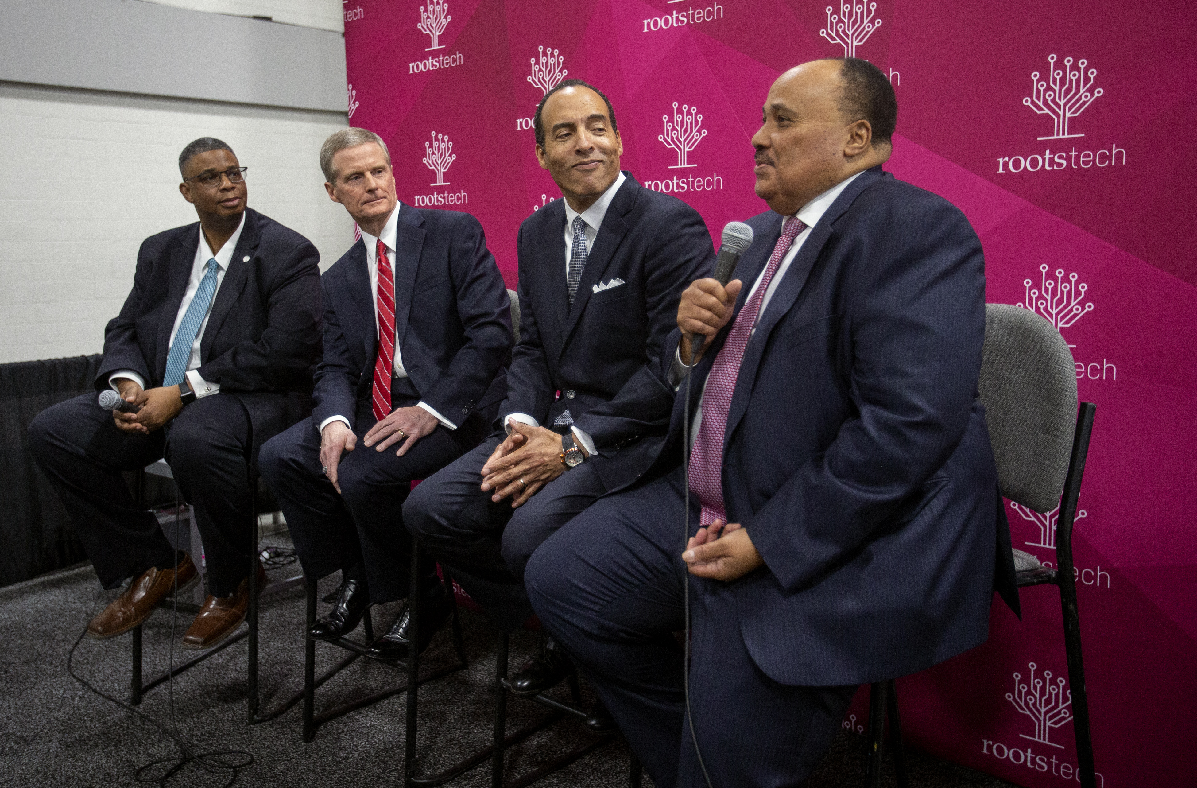 Thom Reed, Deputy Chief Genialogical Officer with FamilySearch joins Elder David A. Bednar of the Quorum of the Twelve Apostles of The Church of Jesus Christ of Latter-day Saints, Museum president and CEO Micael Boulware Moore and Martin Luther King III, son of the Rev. Dr. Martin Luther King Jr. at a press conference following the $2 million donation from the church to the International African American Museum Center for Family History, at Rootstech in Salt Lake City on Wednesday, Feb. 27, 2019.