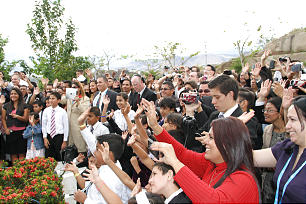 Member salute the visiting General Authorities following the cornerstone ceremony at the Tegucigalpa Honduras Temple on March 17, 2013.