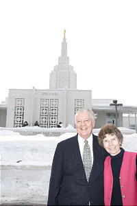 President of the Idaho Falls Idaho Temple, John H. Groberg and his wife, Jean Sabin Groberg, dated in college, married after his mission.
