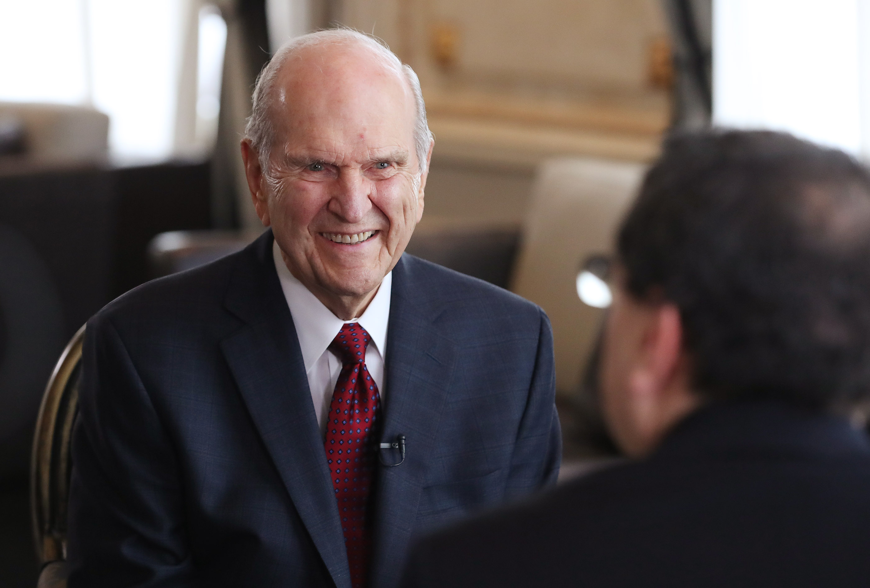 President Russell M. Nelson of The Church of Jesus Christ of Latter-day Saints is interviewed Sergio Rubin, Argentine journalist and biographer of Pope Francis, in Montevideo, Uruguay on Oct. 26, 2018.