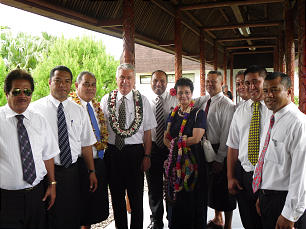 President Dieter F. Uchtdorf and Sister Harriet Uchtdorf are welcomed by a group of priesthood holders at the airport in Apia, Samoa, on Nov. 8. Visits to American Samoa and Samoa, formerly Western Samoa, were the first stops on the Uchtdorfs' travels to Pacific islands; other stops include Fiji, Tonga and Tahiti.