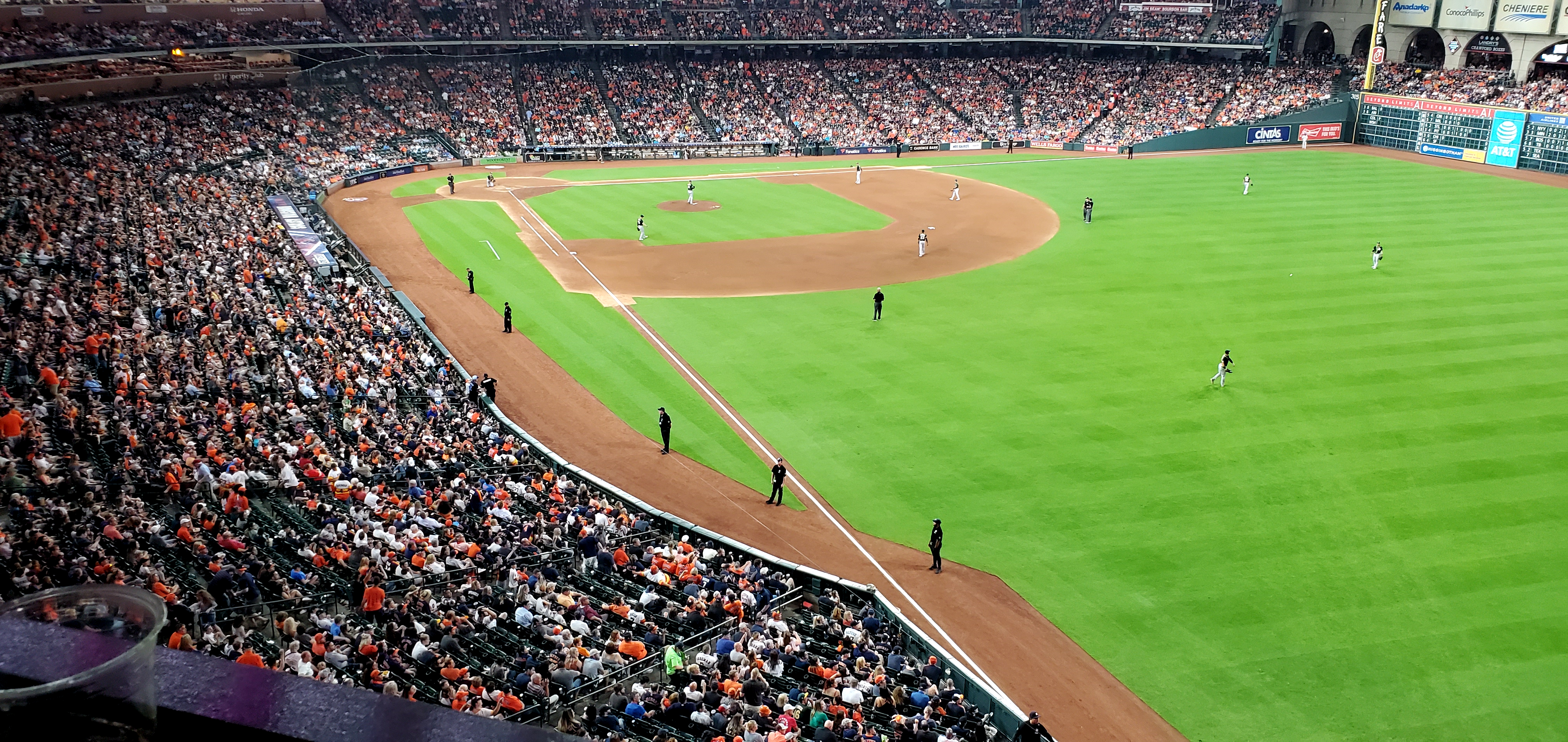 A sold-out crowd watches the Houston Astros play at Minute Maid park.