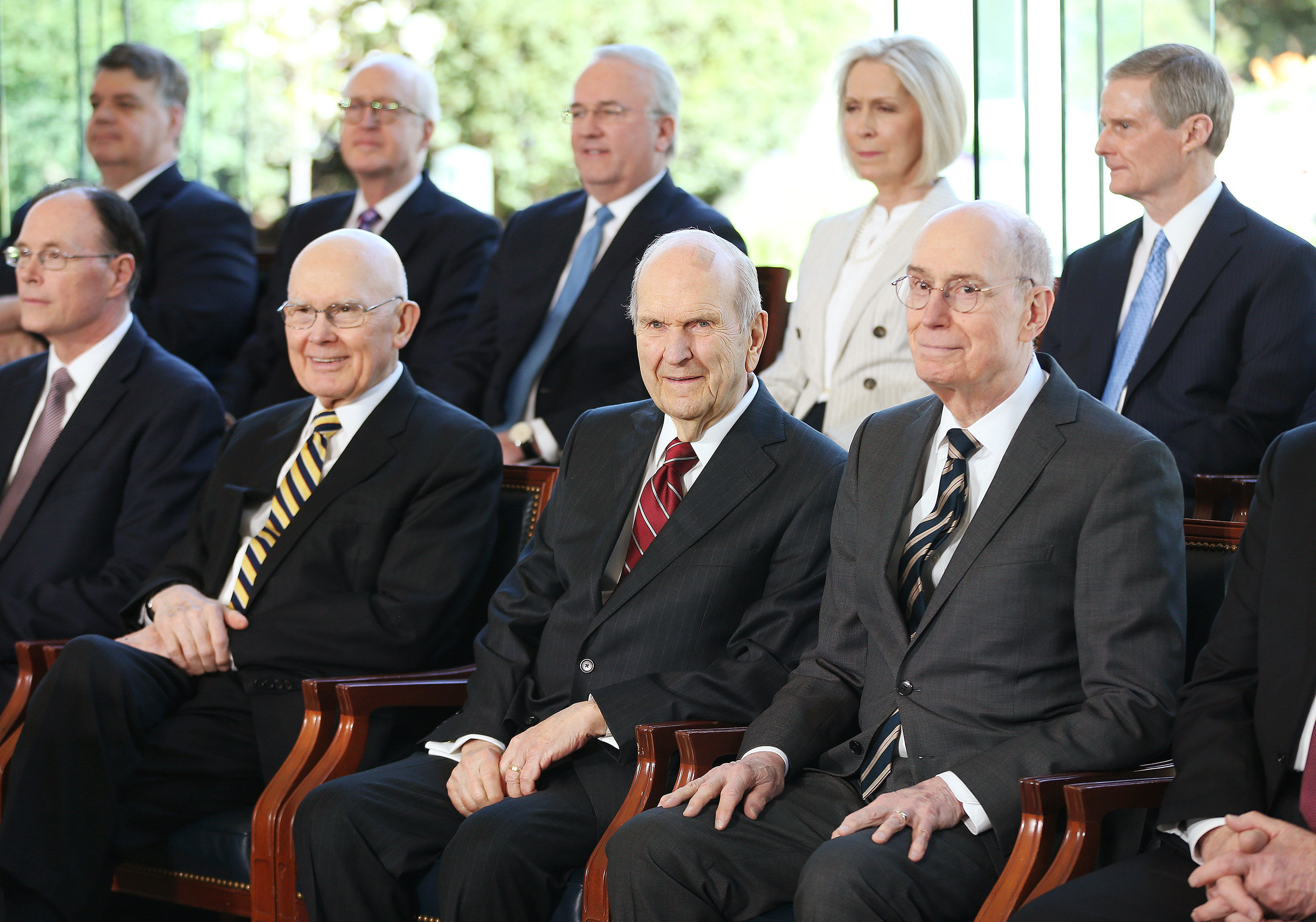 President Russell M. Nelson of The Church of Jesus Christ of Latter-day Saints, center, and his counselors, President Dallin H. Oaks, first counselor in the First Presidency, left, and President Henry B. Eyring, second counselor in the First Presidency, right, sit prior to a press conference in Salt Lake City on Friday, April 19, 2019.