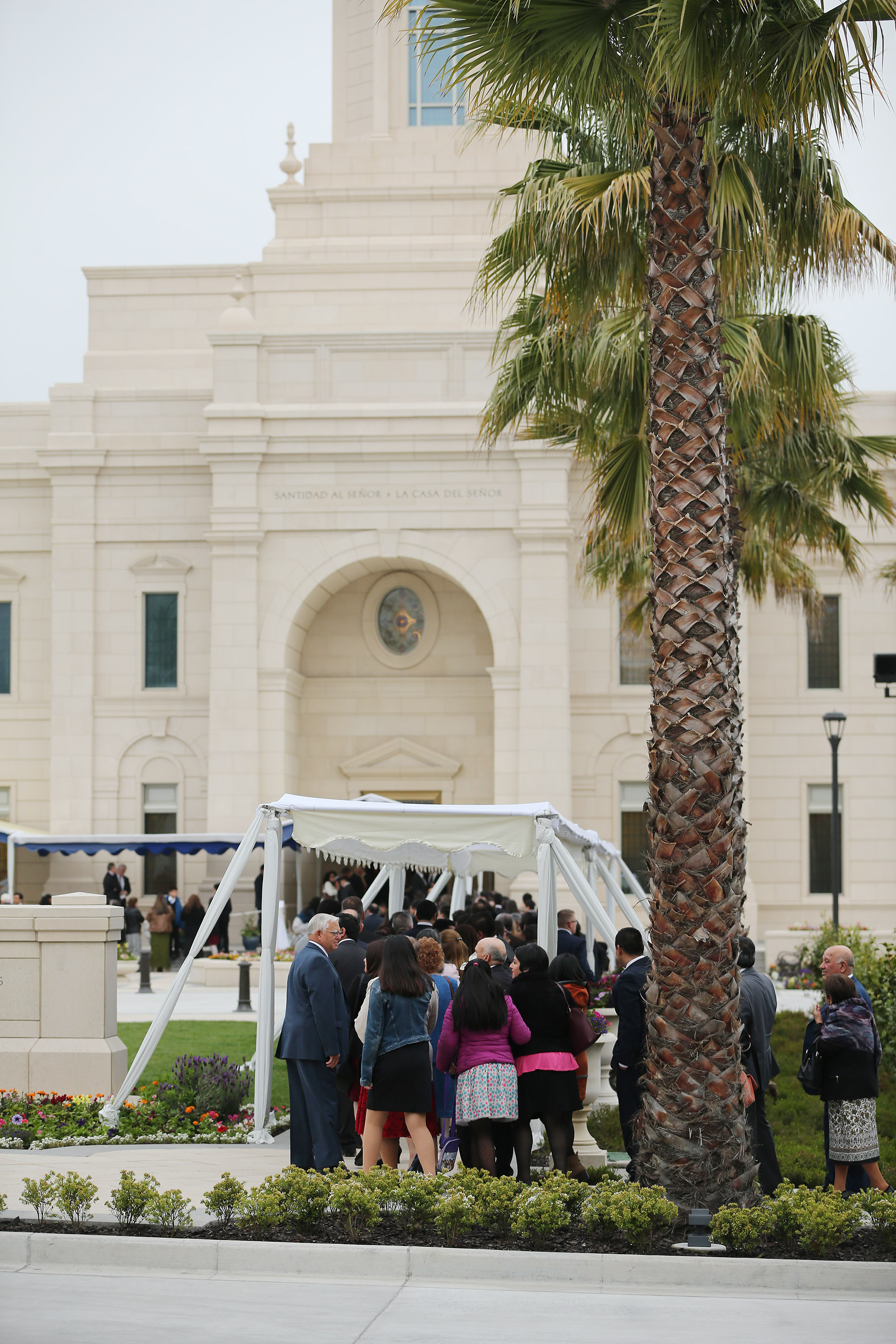 Attendees line up prior to a dedication session of the Concepcion Chile Temple on Sunday, Oct. 28, 2018, in Concepcion, Chile.