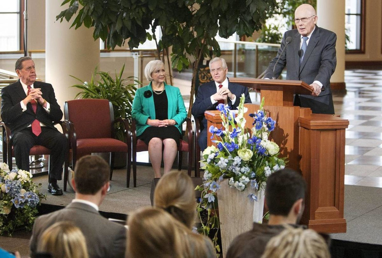 Elder Dallin H. Oaks, of the Quorum of the Twelve Apostles, speaks at a news conference Tuesday, Jan. 27, 2015, inside the Conference Center in Salt Lake City, as leaders of The Church of Jesus Christ of Latter-day Saints reemphasize support for LGBT nondiscrimination laws that protect religious freedoms.