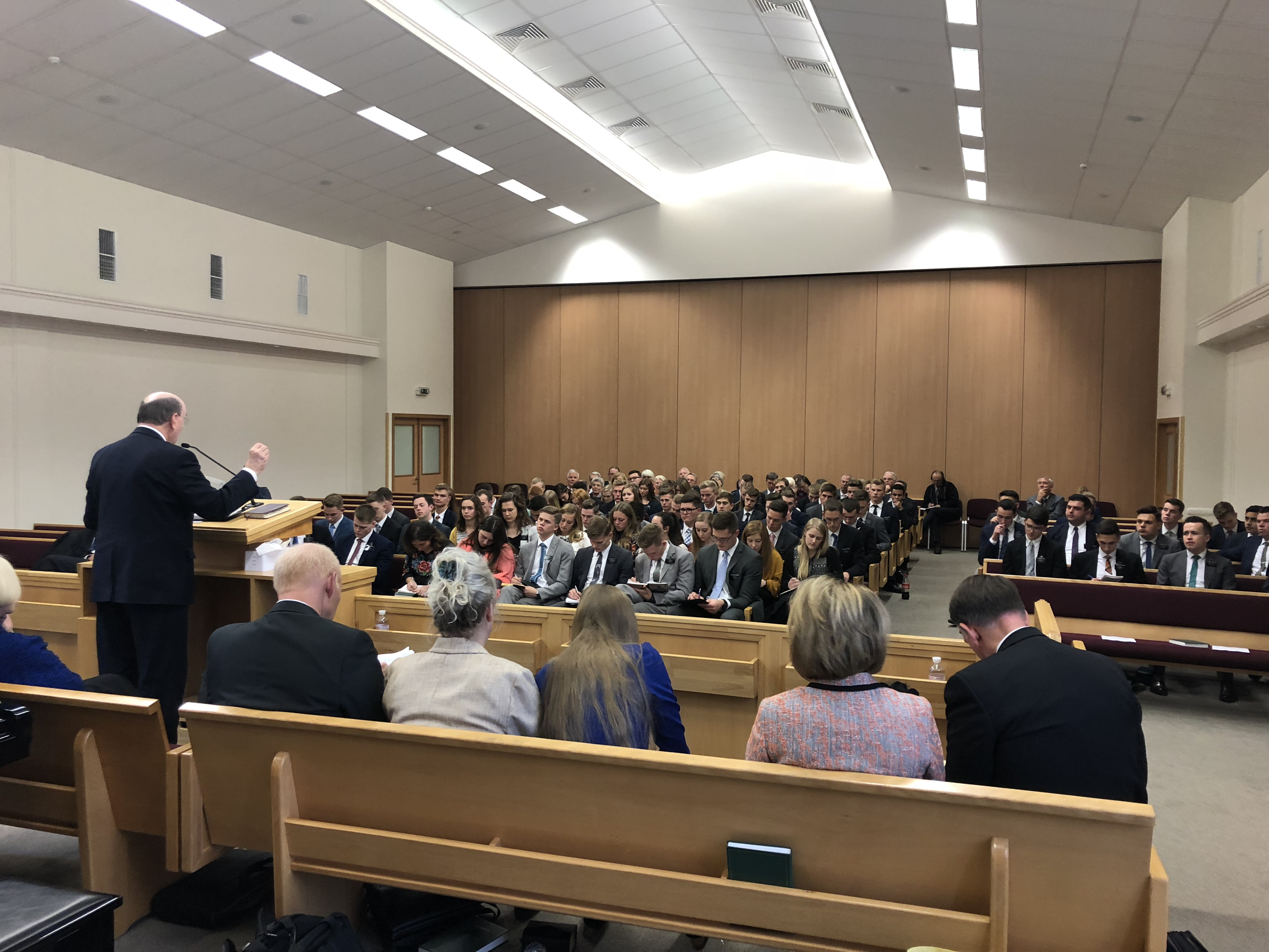 Elder Quentin L. Cook addresses members in the Church's Europe East Area.