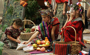 Three children act out a scene from a Guatemalan market before Luz de las Nacionesa Celebration of Hispanic Culture at the Conference Center in Salt Lake City Saturday, November 13, 2004. The event featured traditional music, songs and dancers in the lobby before the event and a message of inspiration delivered in Spanish by Elder Jay E. Jensen. Photo by Jason Olson