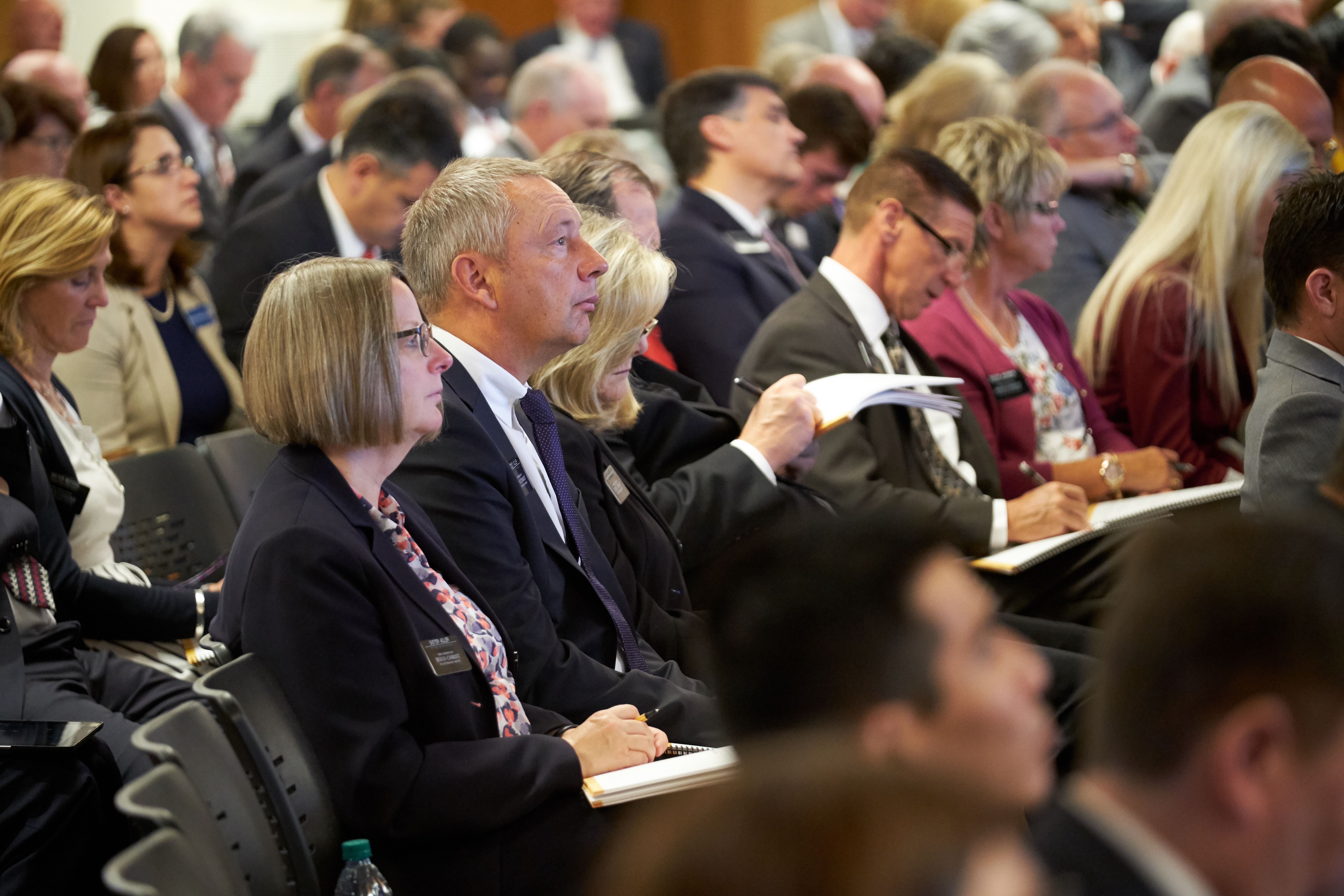 Mission presidents and their companions listen to a session during the 2018 Mission Leadership Seminar at the Provo Missionary Training Center. In the 2019 Mission Leadership Seminar, Elder Christofferson spoke about the importance of using the Book of Mormon when teaching investigators.