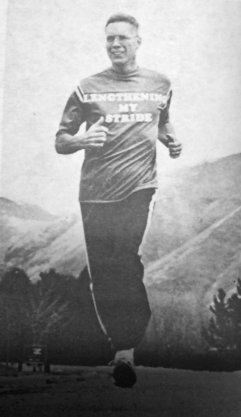 Elder Bruce R. McConkie is pictured running in support of a physical fitness award program introduced by the Church in 1980.