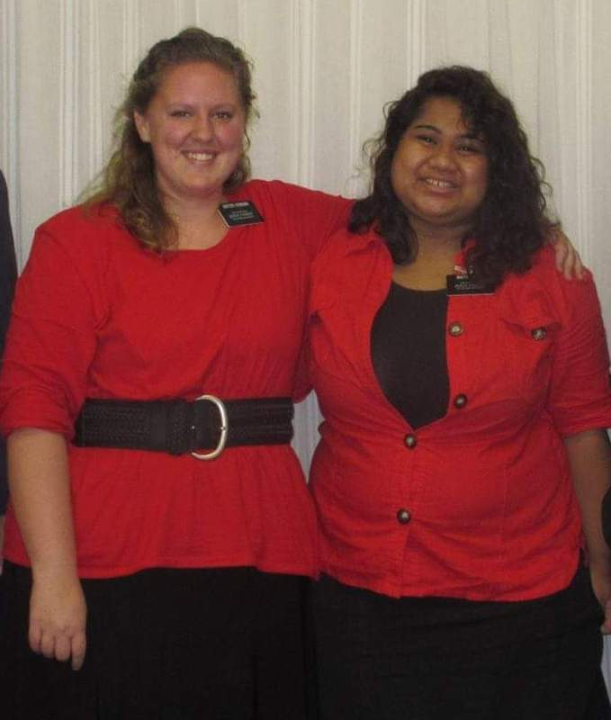Mary Hoskins, left, took a break from the rigors of opera training to serve a full-time mission in Louisiana.