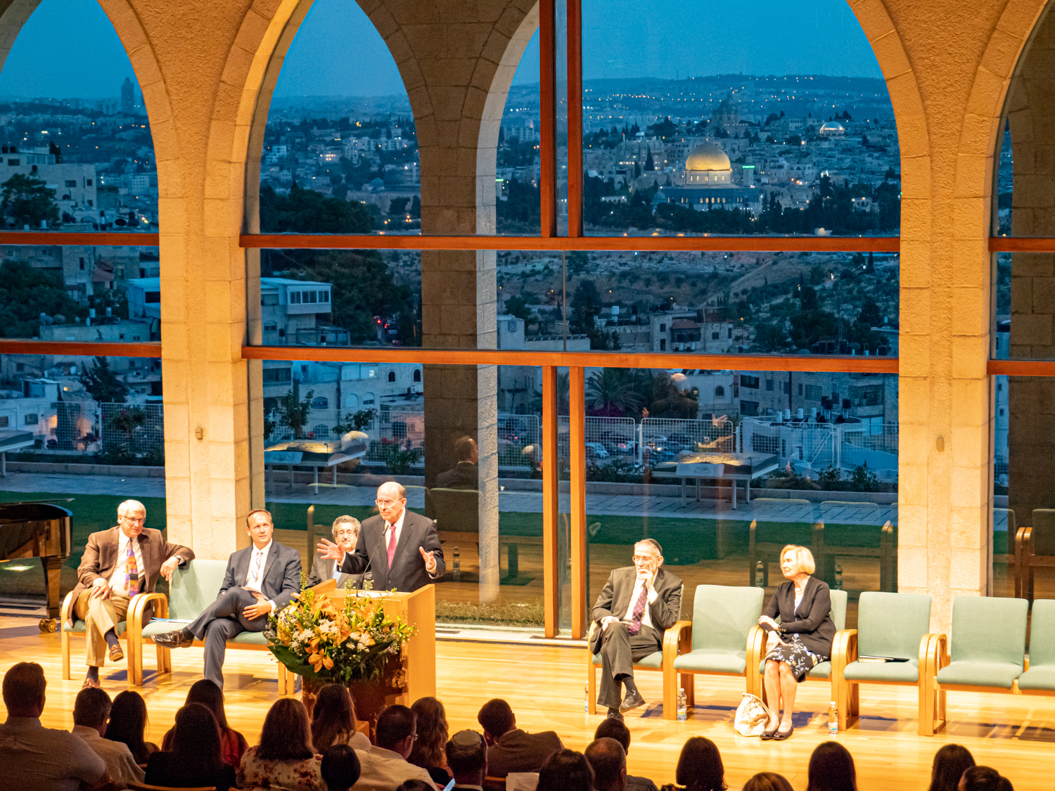Elder Quentin L. Cook speaks to a group of Latter-day Saint and Jewish scholars about the importance of interfaith dialogue to build understanding and respect. The meeting was held at the BYU Jerusalem Center on June 5