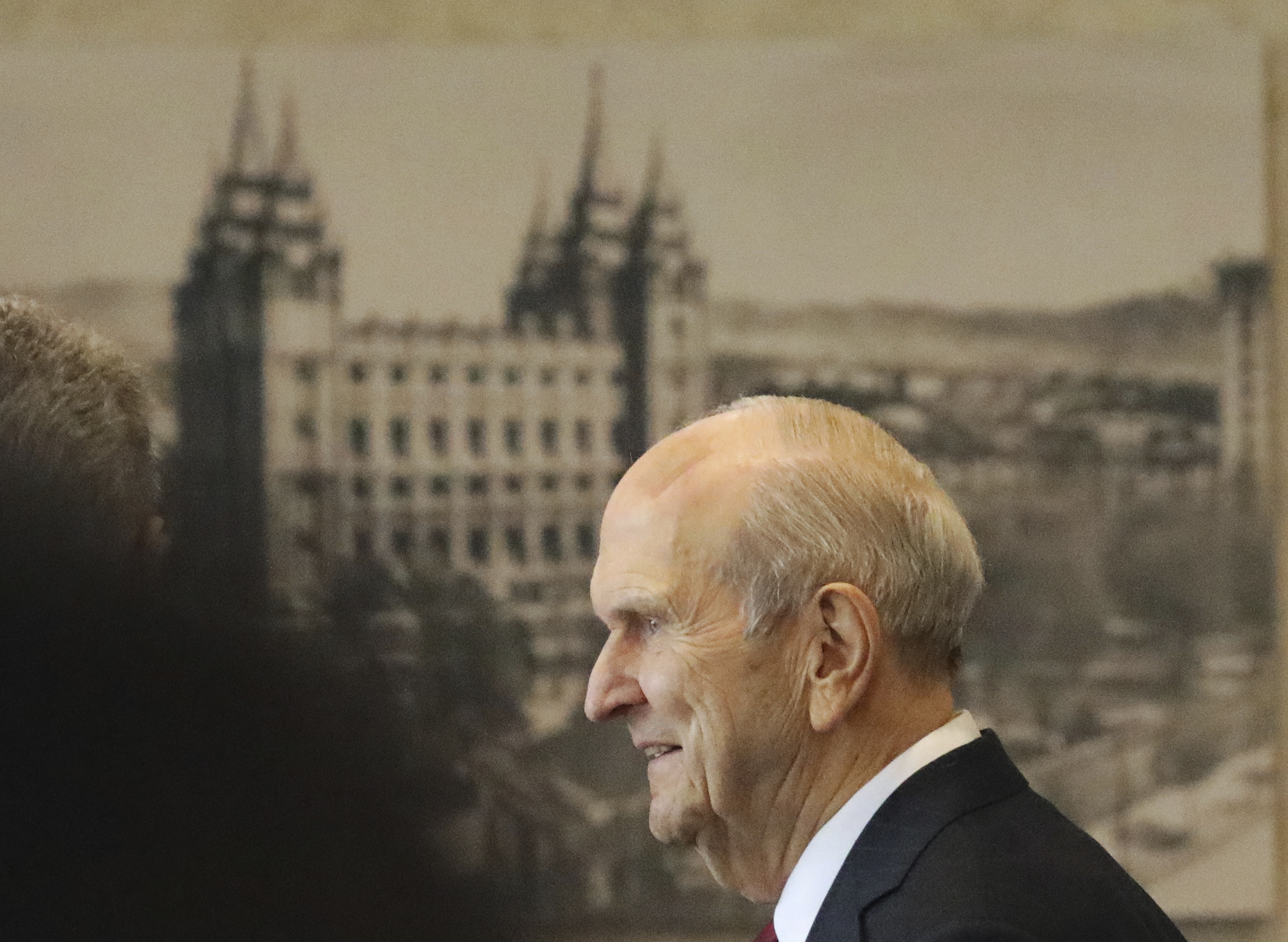 The Church of Jesus Christ of Latter-day Saints President Russell M. Nelson departs after a news conference at the Temple Square South Visitors Center Friday, April 19, 2019, in Salt Lake City. An iconic temple central to The Church of Jesus Christ of Latter-day Saints faith will close for four years to complete a major renovation, and officials are keeping a careful eye on construction plans after a devastating fire at Notre Dame cathedral in Paris. Nelson said the closure will begin in December. (AP Photo/Rick Bowmer)