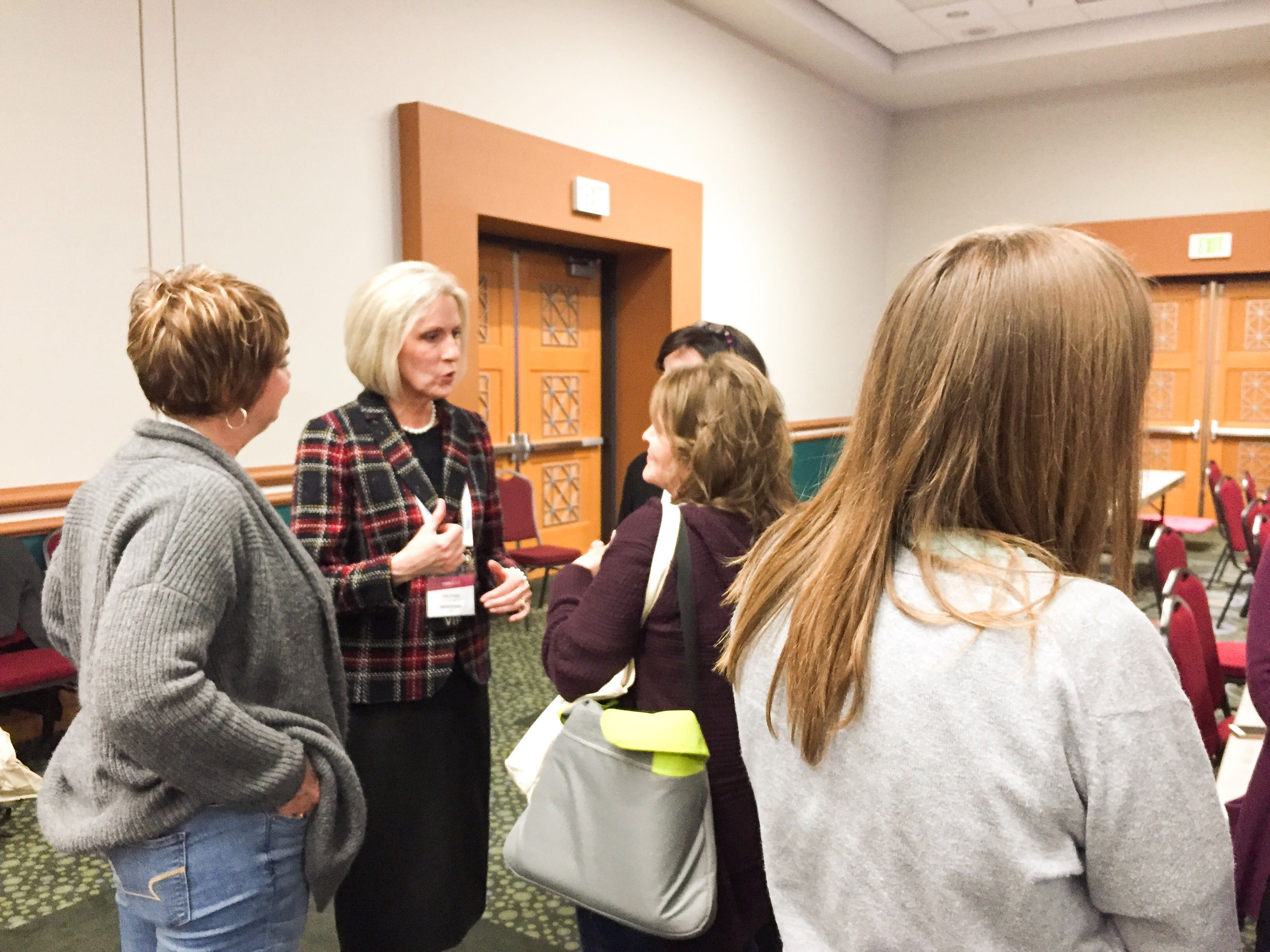 Sister Jones meets with attendees following the Light Keepers workshop at RootsTech on Friday, March 1, 2019.