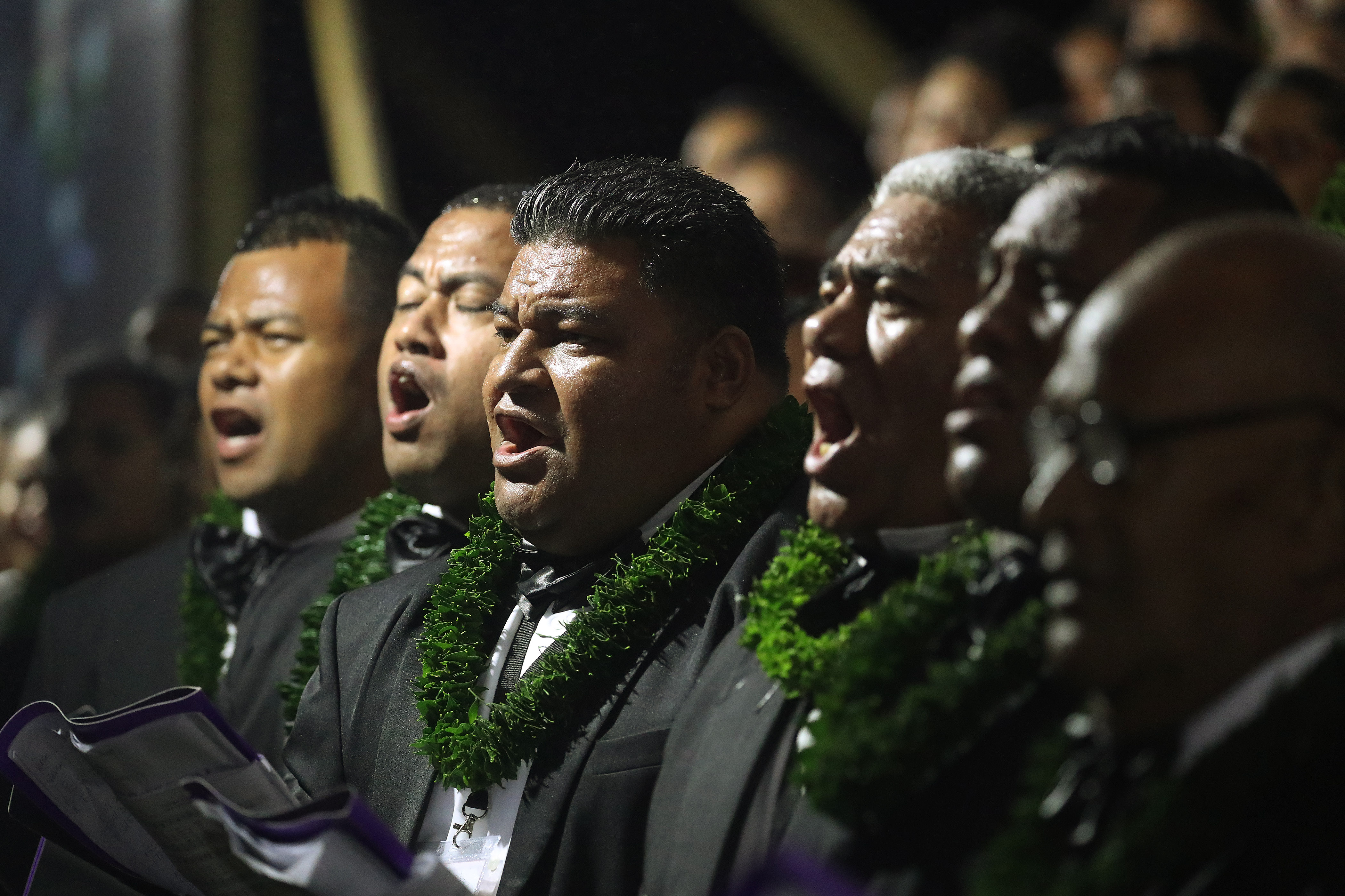 A choir sings during a devotional in Nuku'alofa, Tonga, on May 23, 2019.