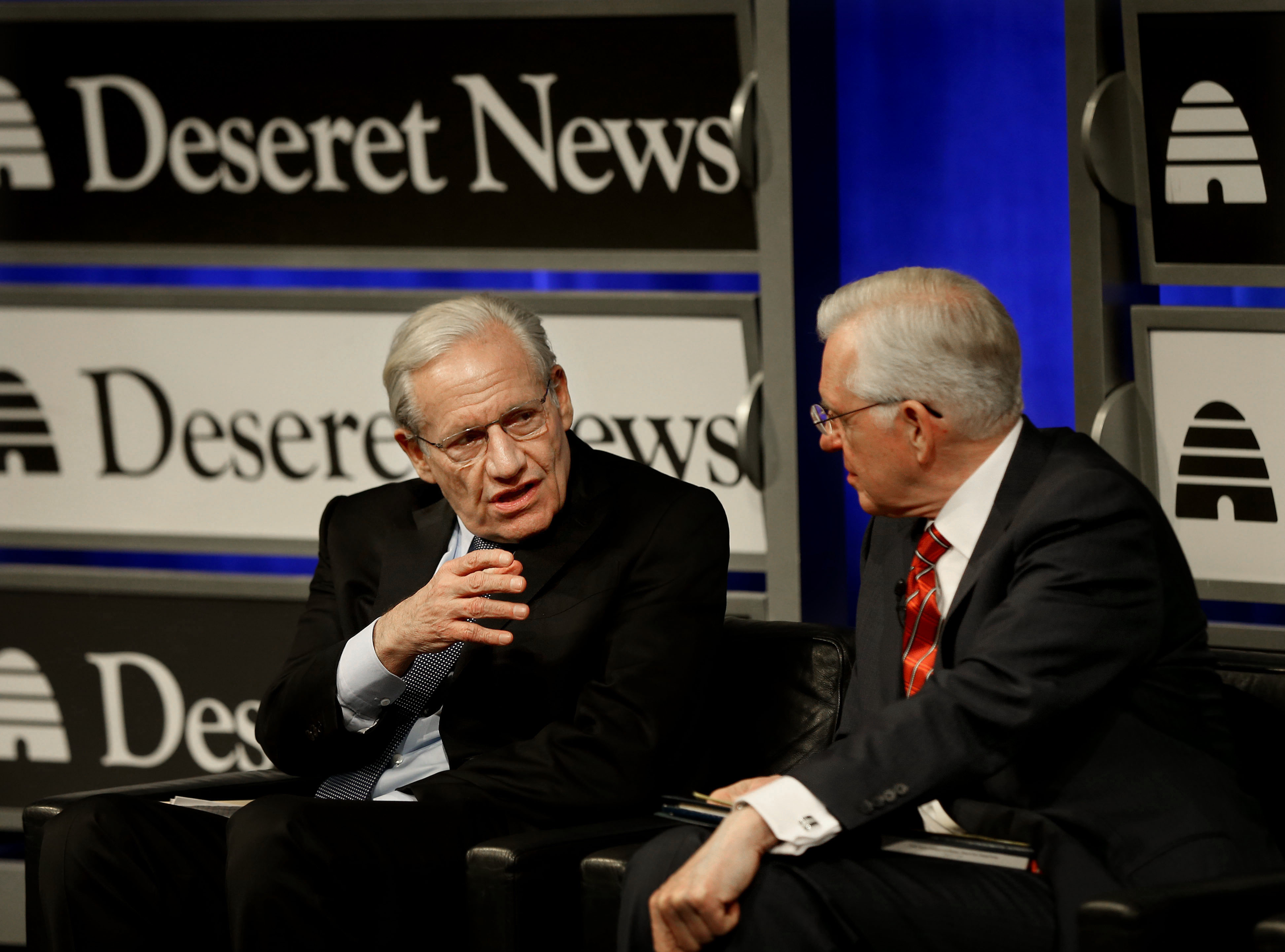 """Bob Woodward, Washington Post reporter who broke the Watergate story in 1973 and current associate editor at the Post, speaks to Elder D. Todd Christofferson, a member of the Quorum of the Twelve Apostles during """"Integrity and Trust: Lessons from Watergate and Today"""" at the Newseum in Washington, D.C., on Monday, Jan. 14, 2019."""