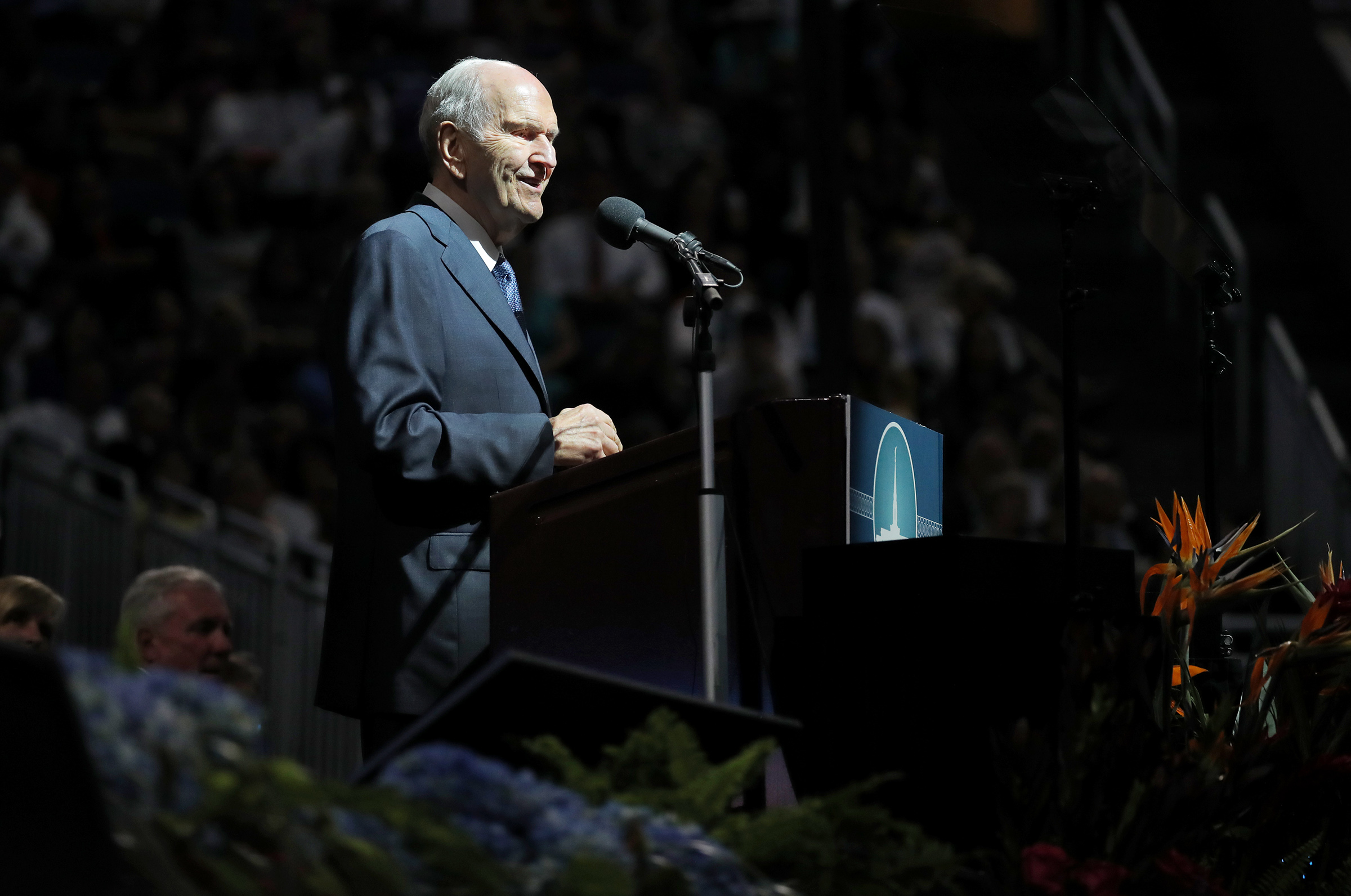 President Russell M. Nelson speaks during at a devotional at the Amway Center in Orlando, Florida, on Sunday, June 9, 2019.