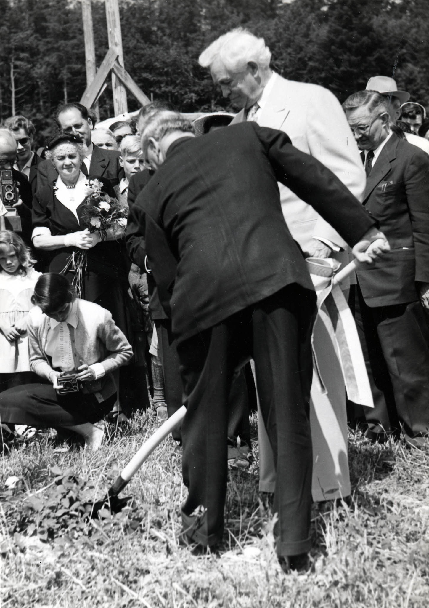 LDS Church President David O. McKay at the site dedication and groundbreaking for the Bern Switzerland Temple in 1953.