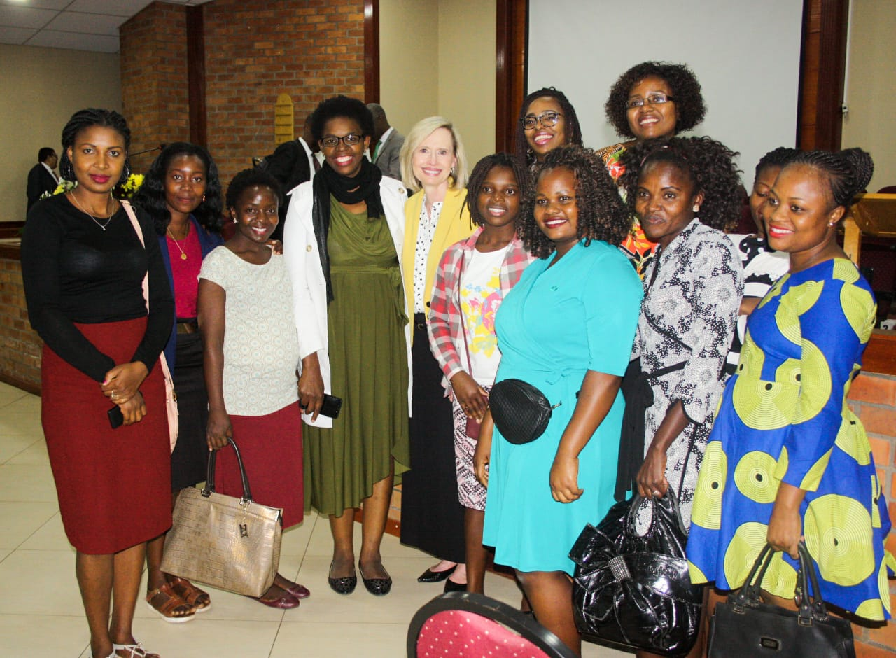 Sister Bonnie H. Cordon, Young Women general president, pauses for a photo with women members of the Church in Maputo, Mozambique.