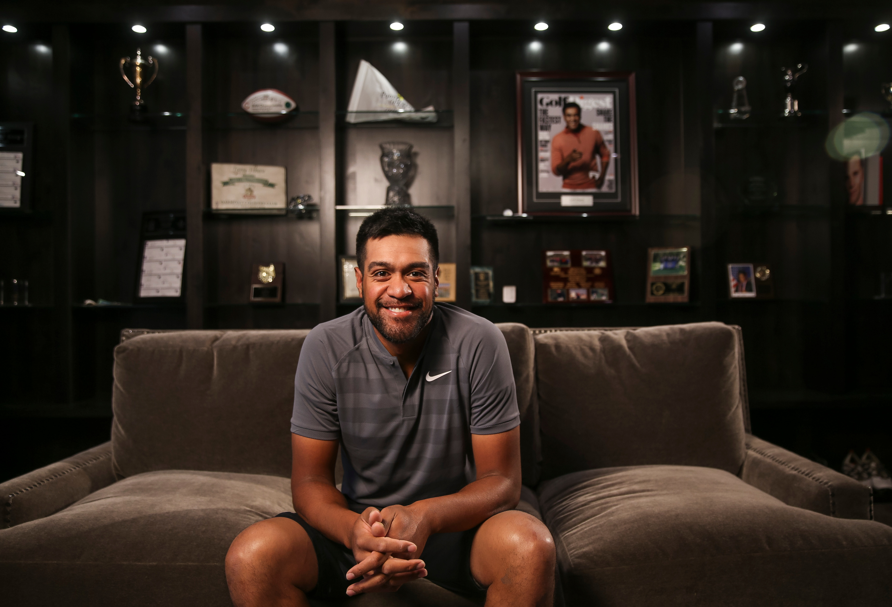 PGA golfer Tony Finau poses for a photo at his home in Lehi on Tuesday, Feb. 6, 2018.