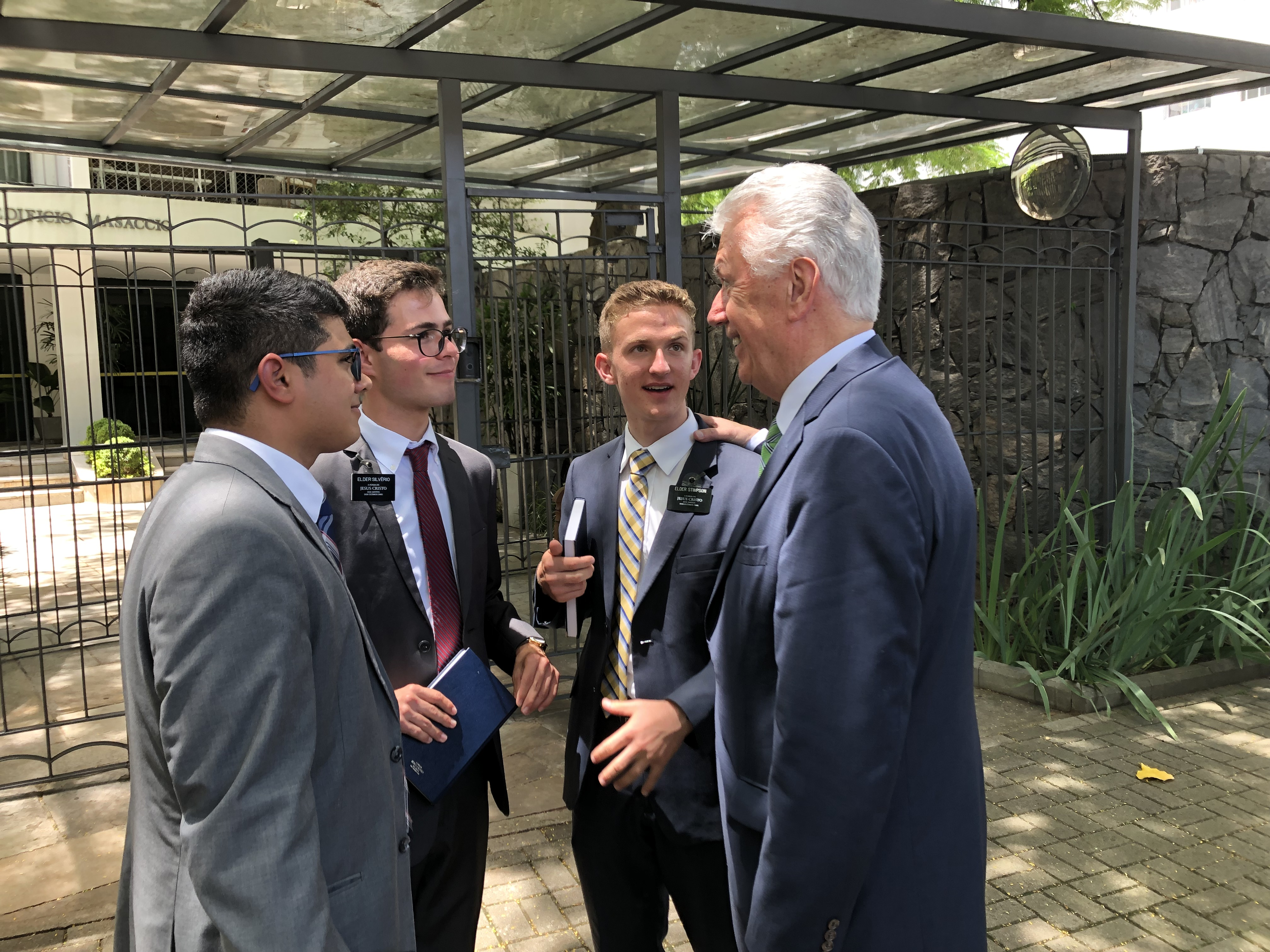 Elders Gabriel Luiz Rodriguez Silvério, Leonário Lima Pereira and Brennan Lance Stimpson of the Brazil Sao Paulo West Mission visit with Elder Dieter F. Uchtdorf of the Quorum of the Twelve Apostles as they prepare to go out teaching together in Sao Paulo in February 2019.