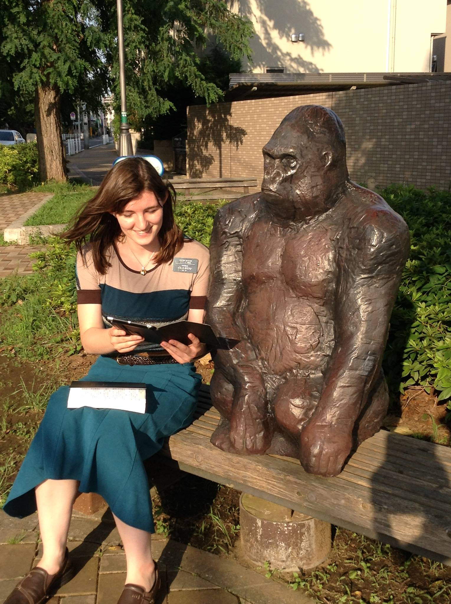 """Anna Savage Hodge enjoys a light-hearted """"teaching moment"""" during her missionary service in Tokyo, Japan. The lifelong member would later graduate from Army Ranger School."""