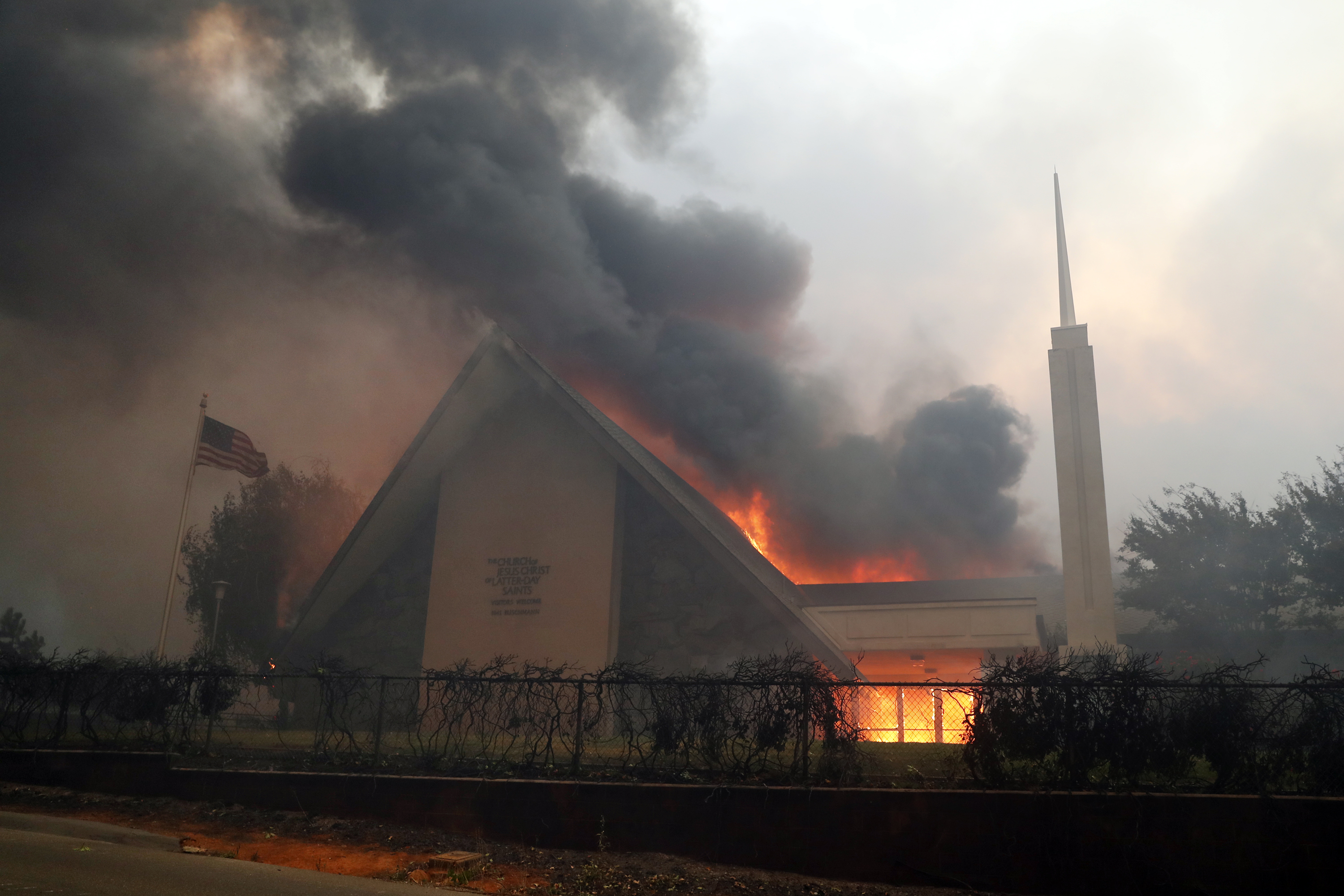 A meetinghouse of The Church of Jesus Christ of Latter Day Saints burns during Camp Fire in Paradise, Calif.. on Thursday, November 8, 2018.