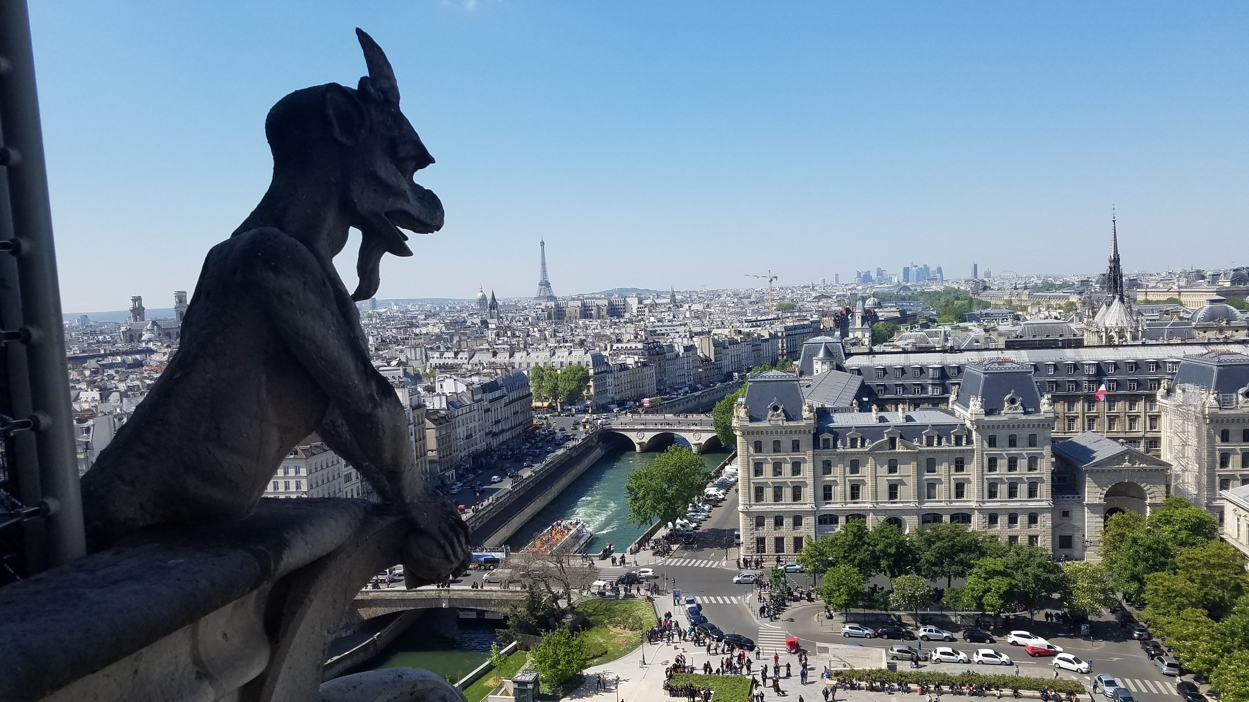 A photo taken from the tower of Notre Dame in April 2017.