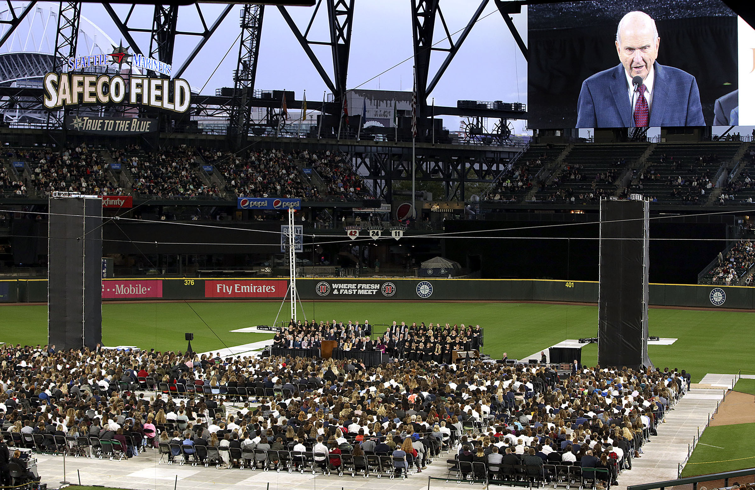 President Russell M. Nelson of The Church of Jesus Christ of Latter-day Saints speaks to a crowd of more than 49,000 people at Safeco Field in Seattle, Wash., on Saturday, Sept. 15, 2018.