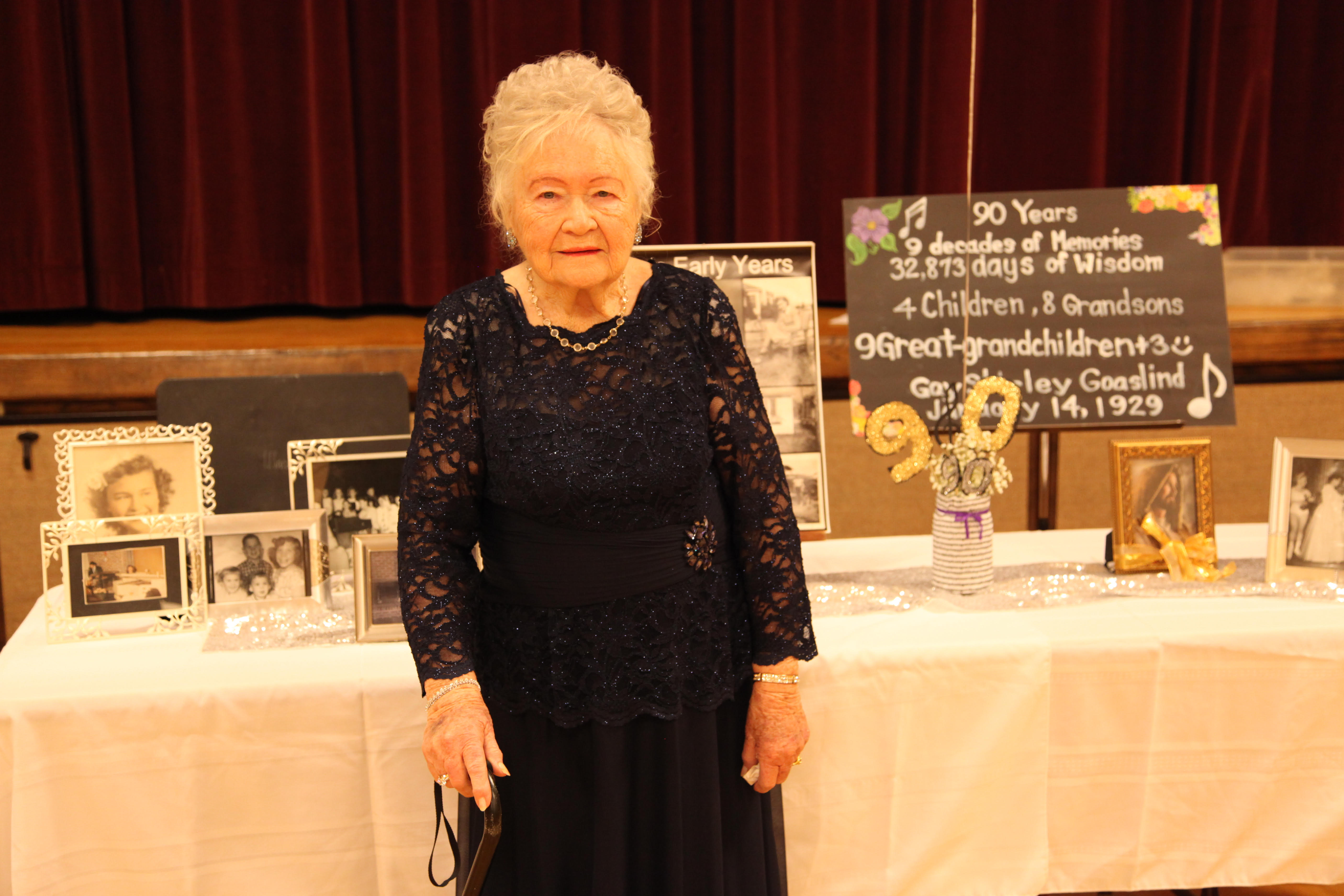 Gay Goaslind poses for a picture at her 90th birthday party on Jan. 14, 2019.