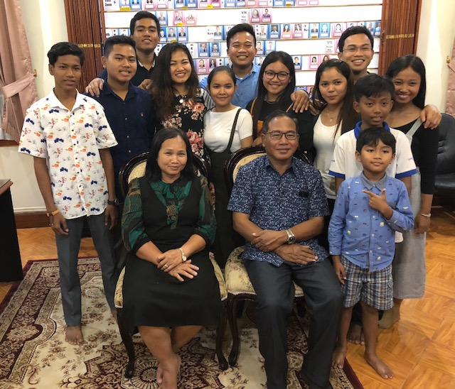 A family from Battambang meets at the mission home to celebrate the release of Sister Sorn — return missionary from Tacoma, Washington. The family represents three generations of Church membership with the first having joined nearly 17 years ago.