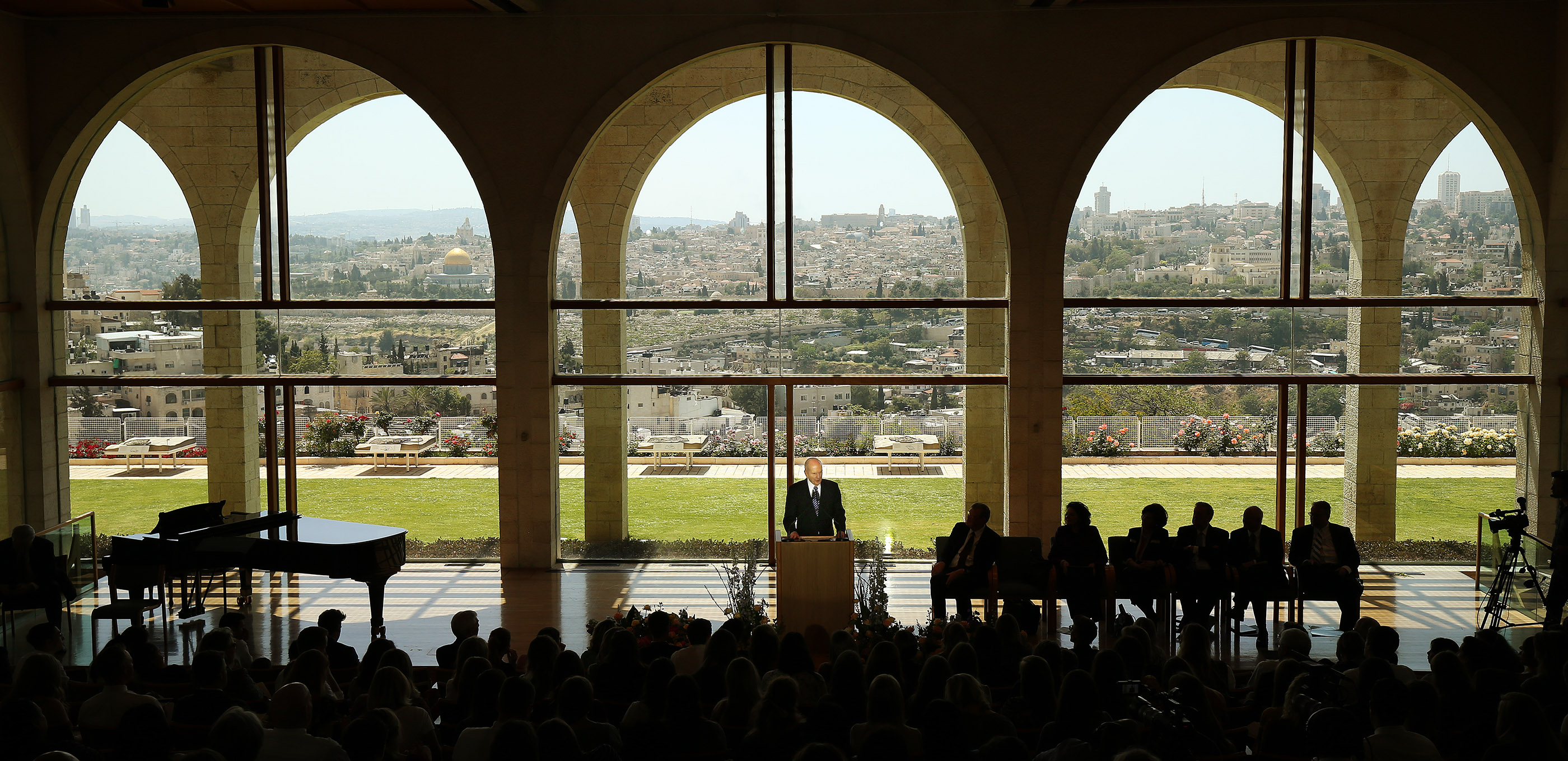 President Russell M. Nelson speaks during Jerusalem District Conference at the BYU Jerusalem Center in Jerusalem on Saturday, April 14, 2018.