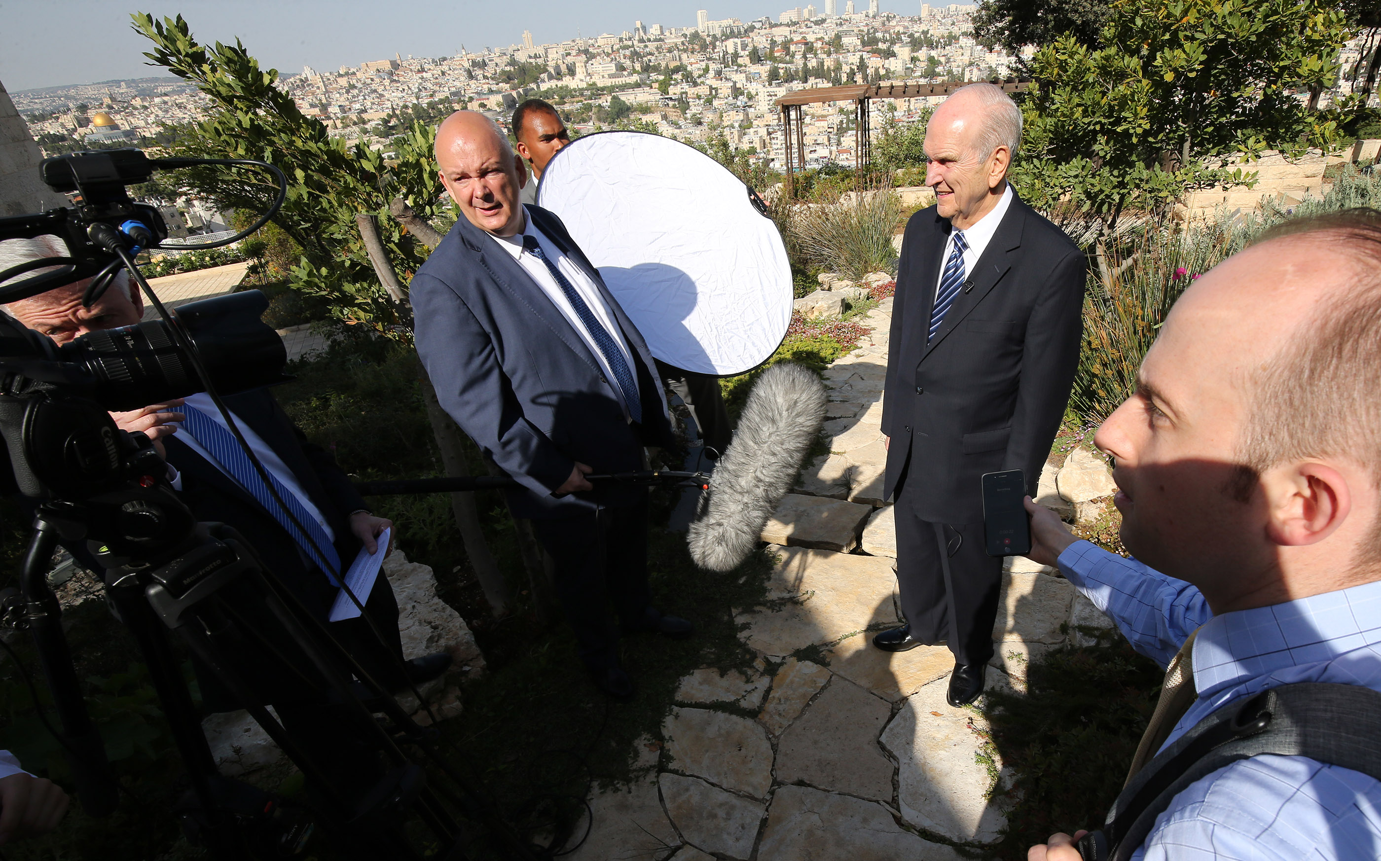 President Russell M. Nelson does a media interview at the BYU Jerusalem Center in Jerusalem on Saturday, April 14, 2018.