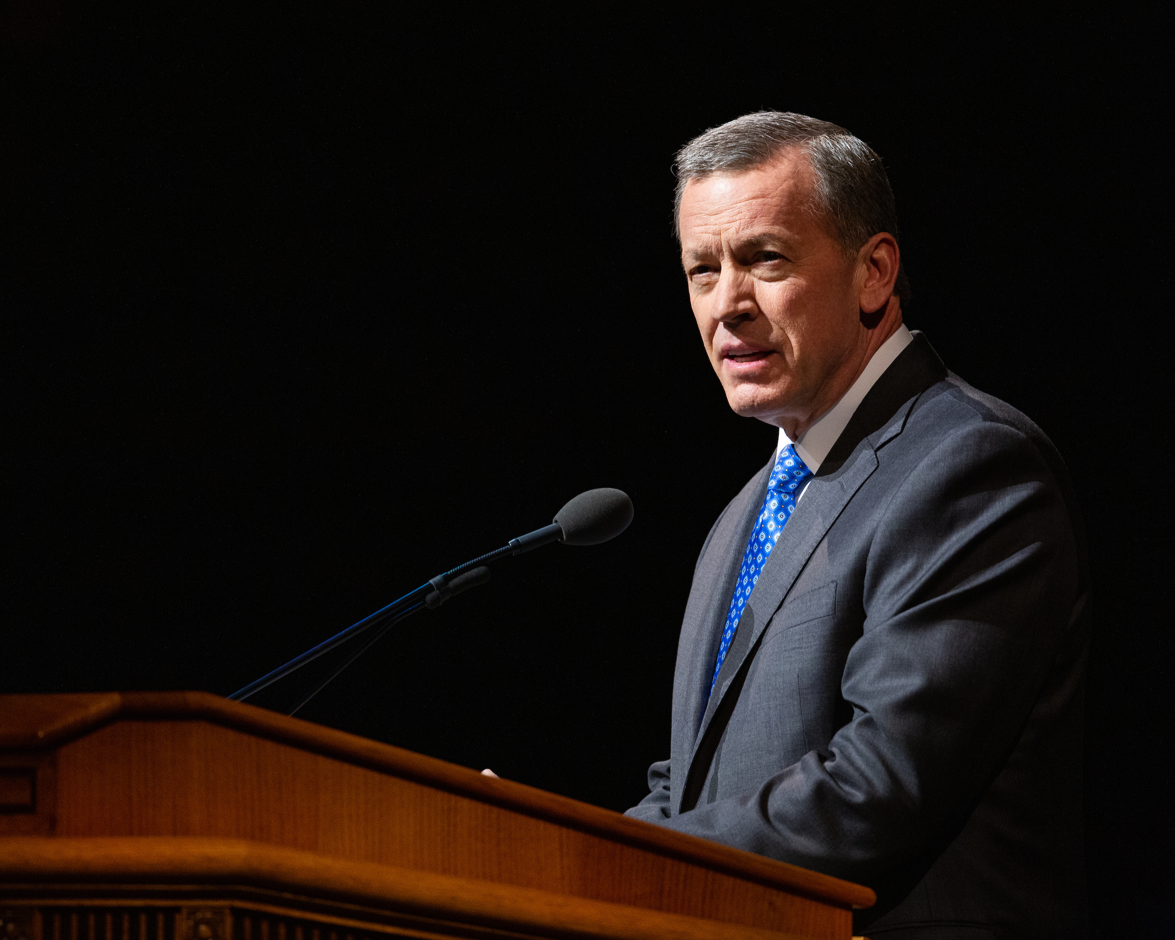 Elder Randall K. Bennett speaks during a campus devotional at Brigham Young University on March 19, 2019.