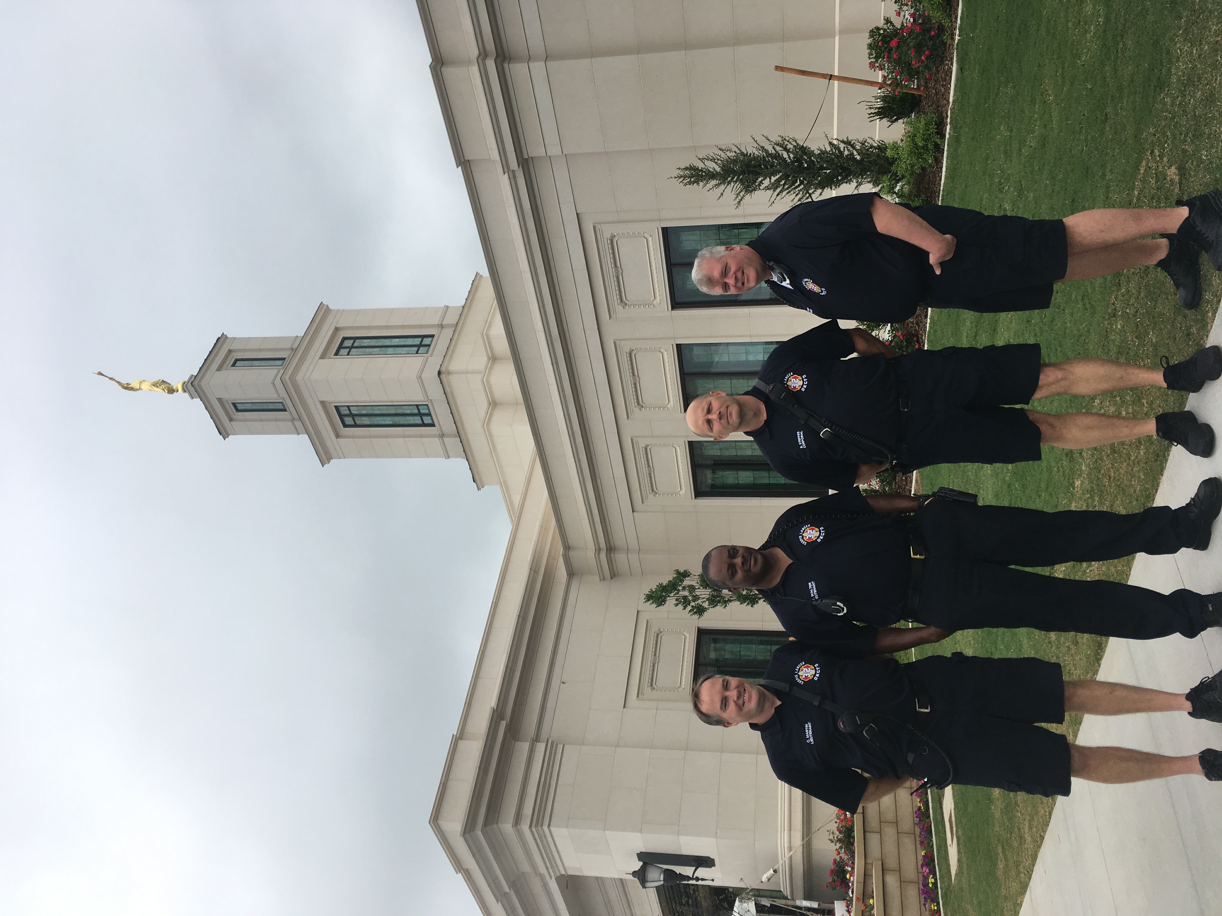 First responders from the Oklahoma City area visited during the open house of the Oklahoma City Oklahoma Temple.