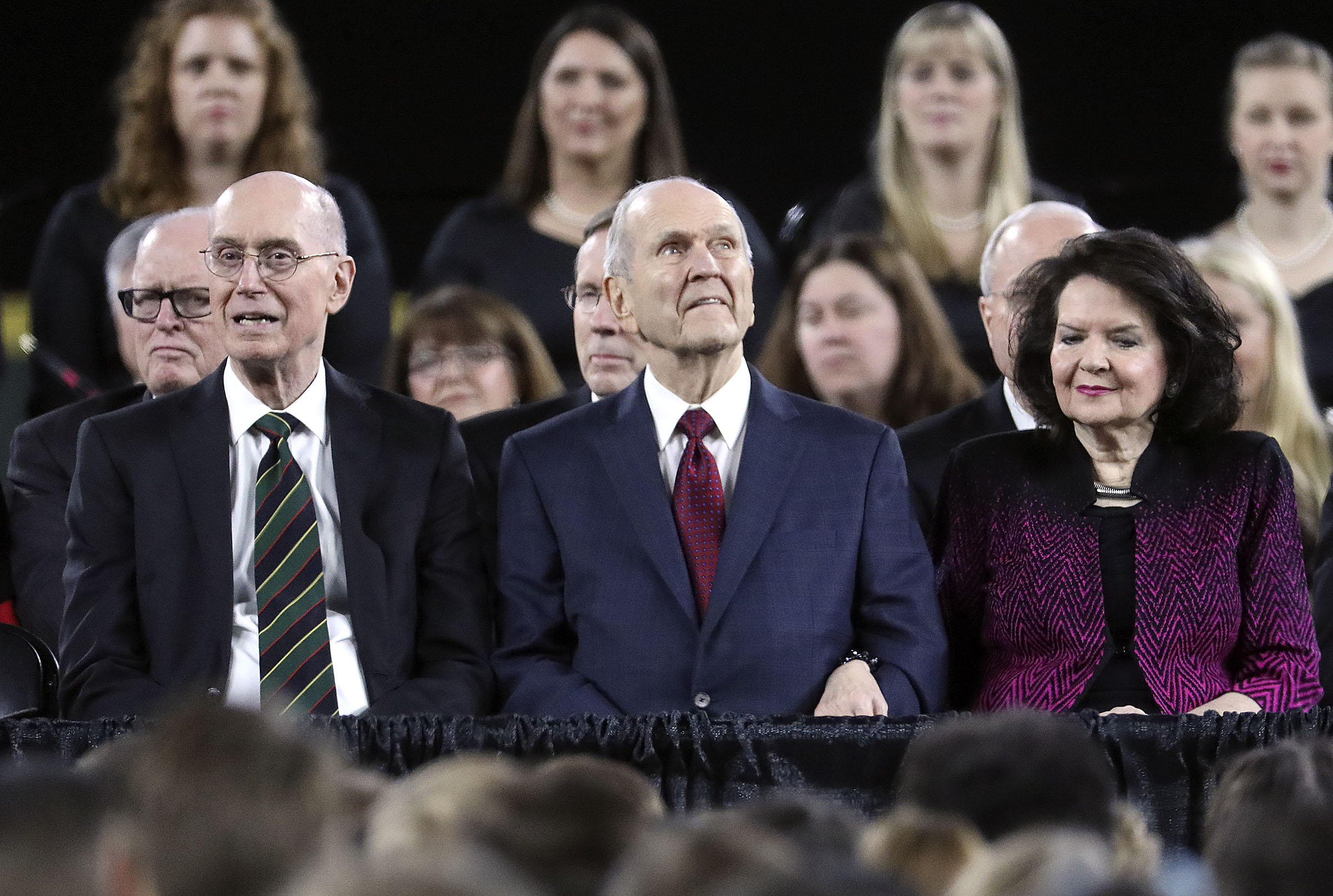 President Henry B. Eyring, President Russell M. Nelson and Sister Wendy Nelson listen to the Ensign Choir sing before speaking at Safeco Field in Seattle, Wash., on Saturday, Sept. 15, 2018.