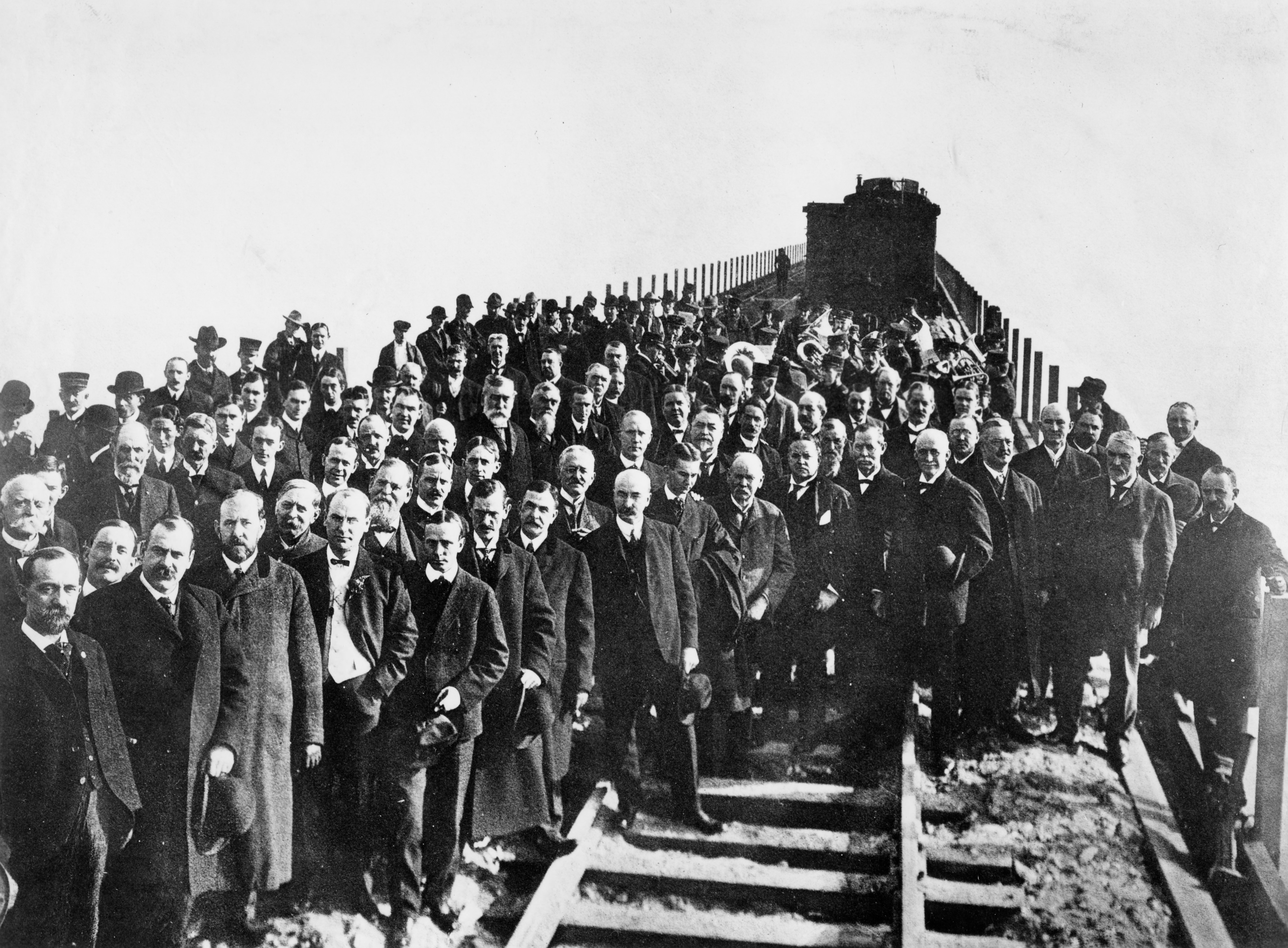 Officials pose for a photograph at the celebration of the completion of Lucin Cutoff on Thanksgiving, Nov. 26, 1903.