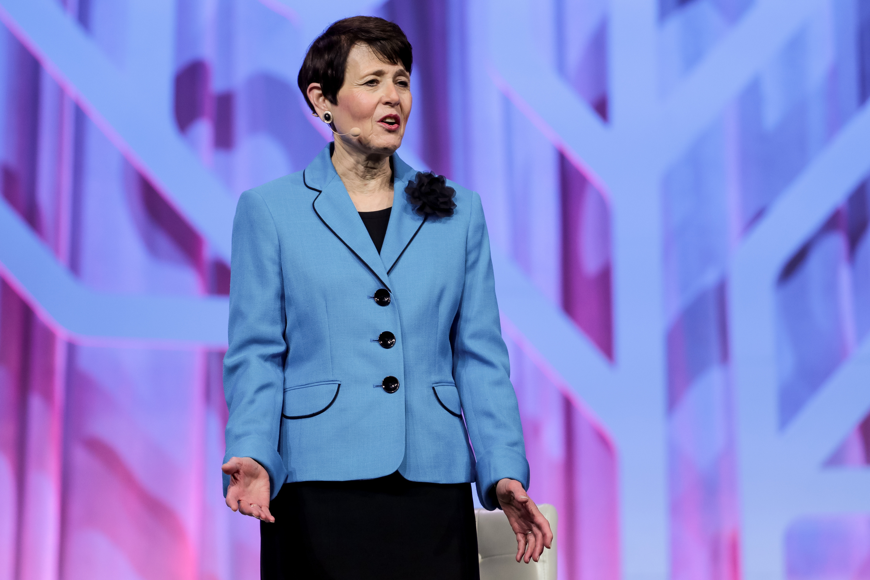 Sister Susan Bednar, wife of Elder David A. Bednar of the Quorum of the Twelve Apostles, speak during the RootsTech conference, held at the Salt Palace in Salt Lake City on Saturday, March 2, 2019.