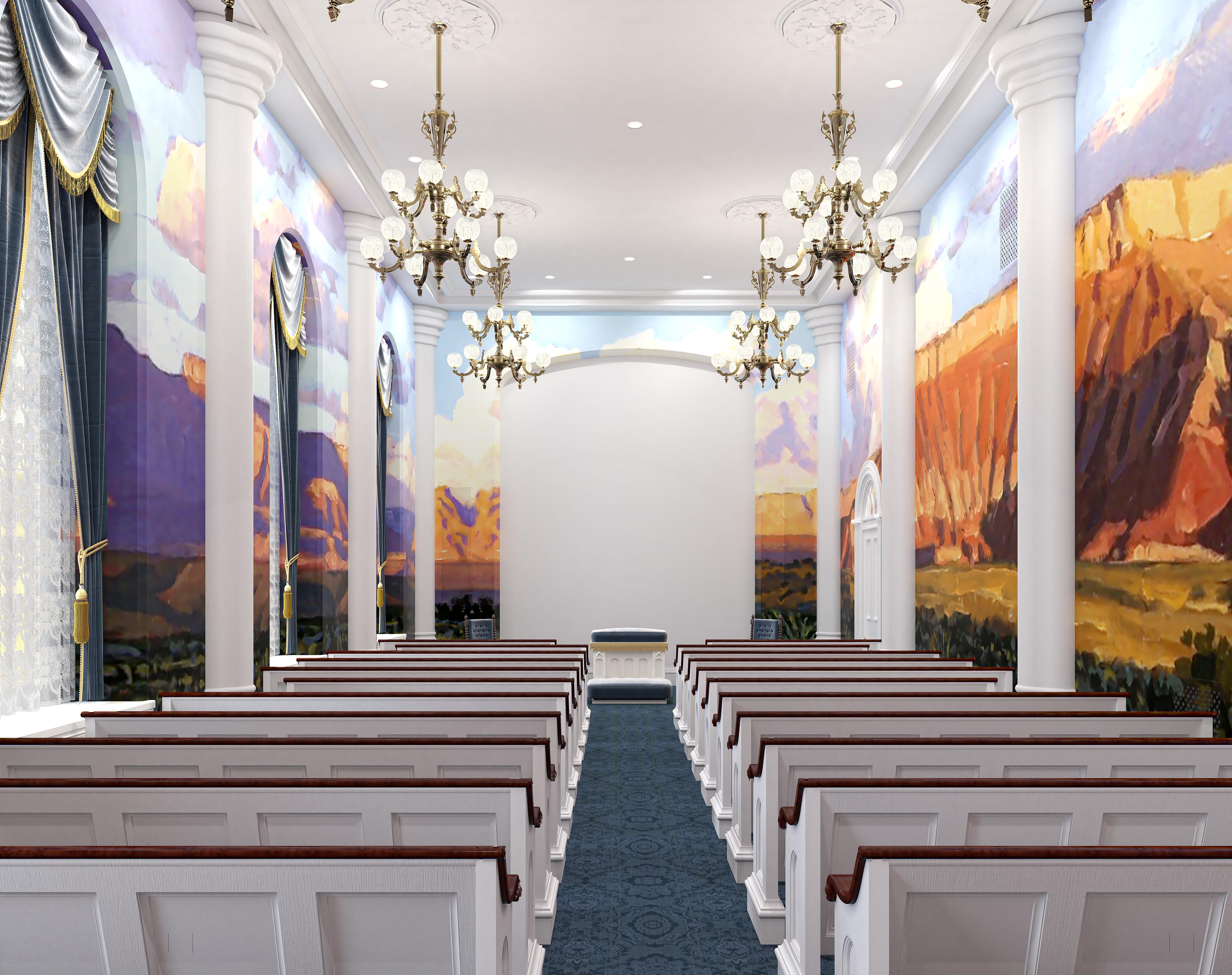 A rendering of an instruction room in the St. George Utah Temple. The temple will close Nov. 4 for extensive renovations.