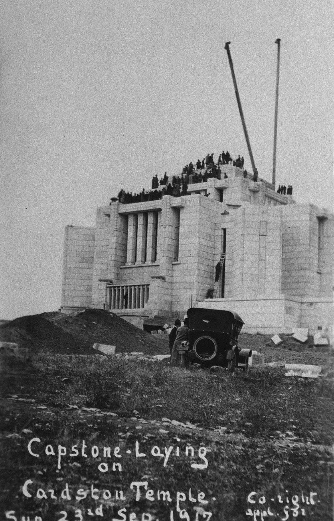 Capstone laying of Cardston Temple, Alberta, Canada. The capstone of the Alberta Temple in Cardston was placed Sept. 23, 1917.